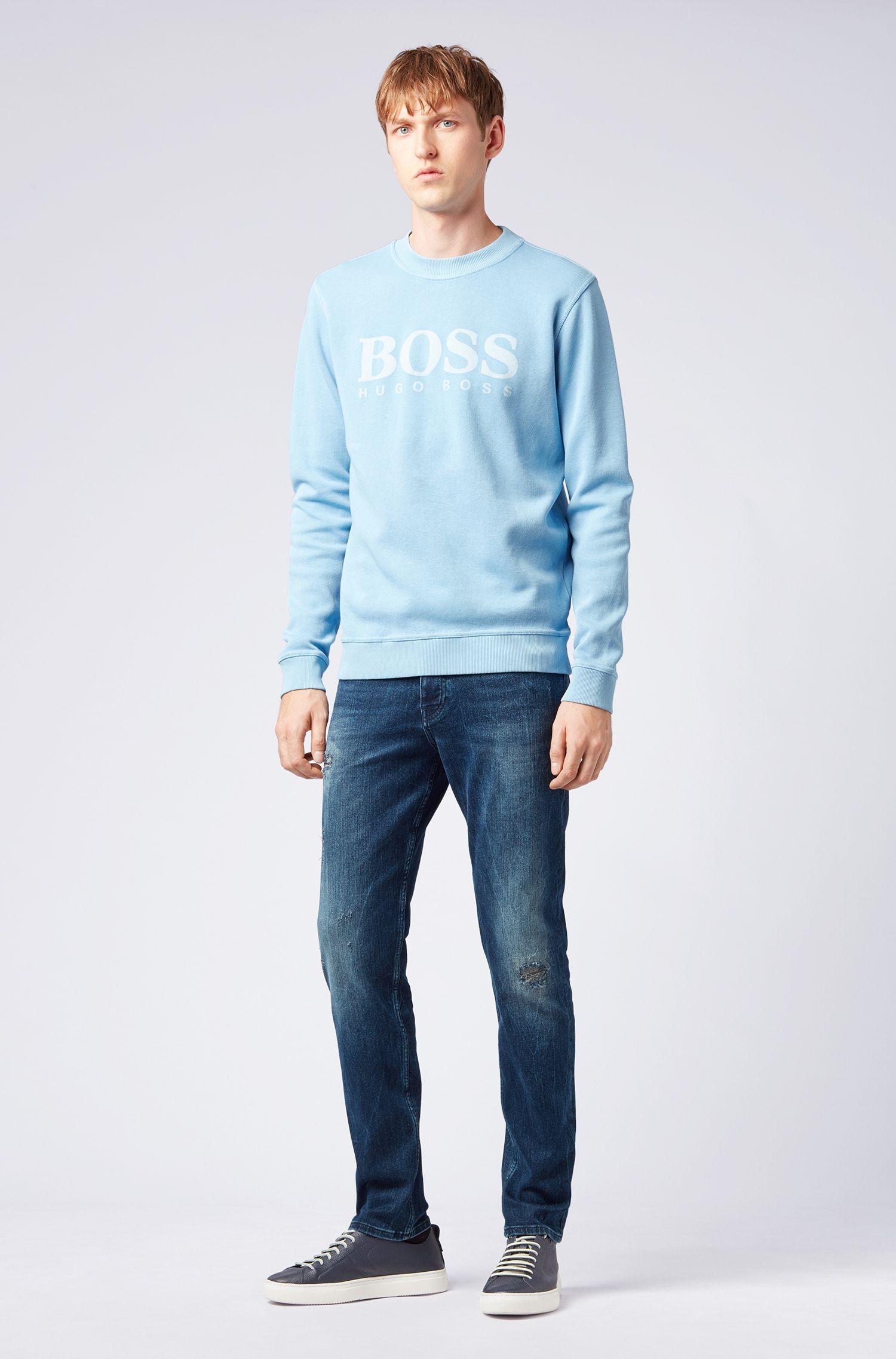 Tapered-Fit Jeans aus überfärbtem Stretch-Denim, Dunkelblau