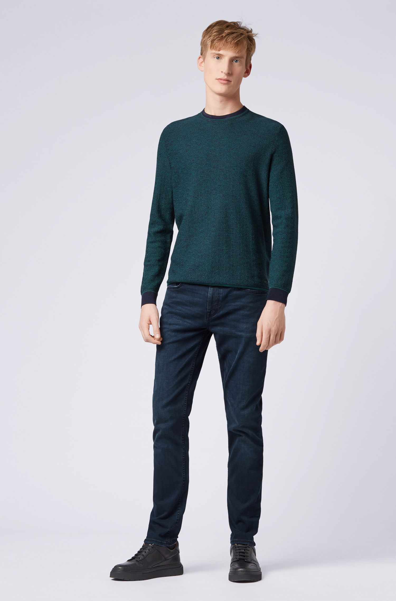 Slim-fit jeans in overdyed stretch denim, Dark Blue