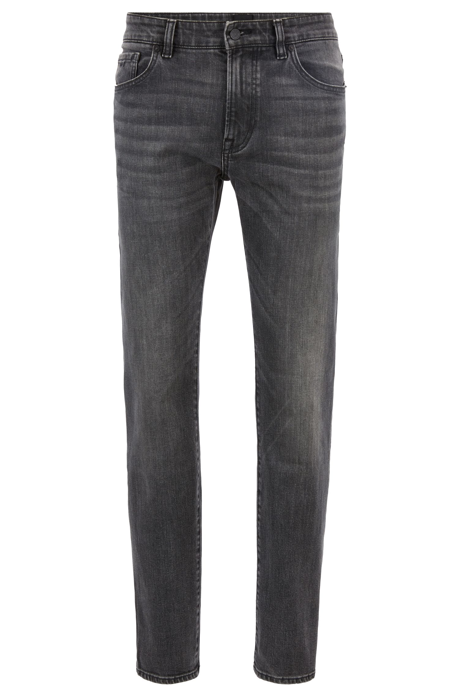 Regular-fit jeans in black stretch denim, Anthracite