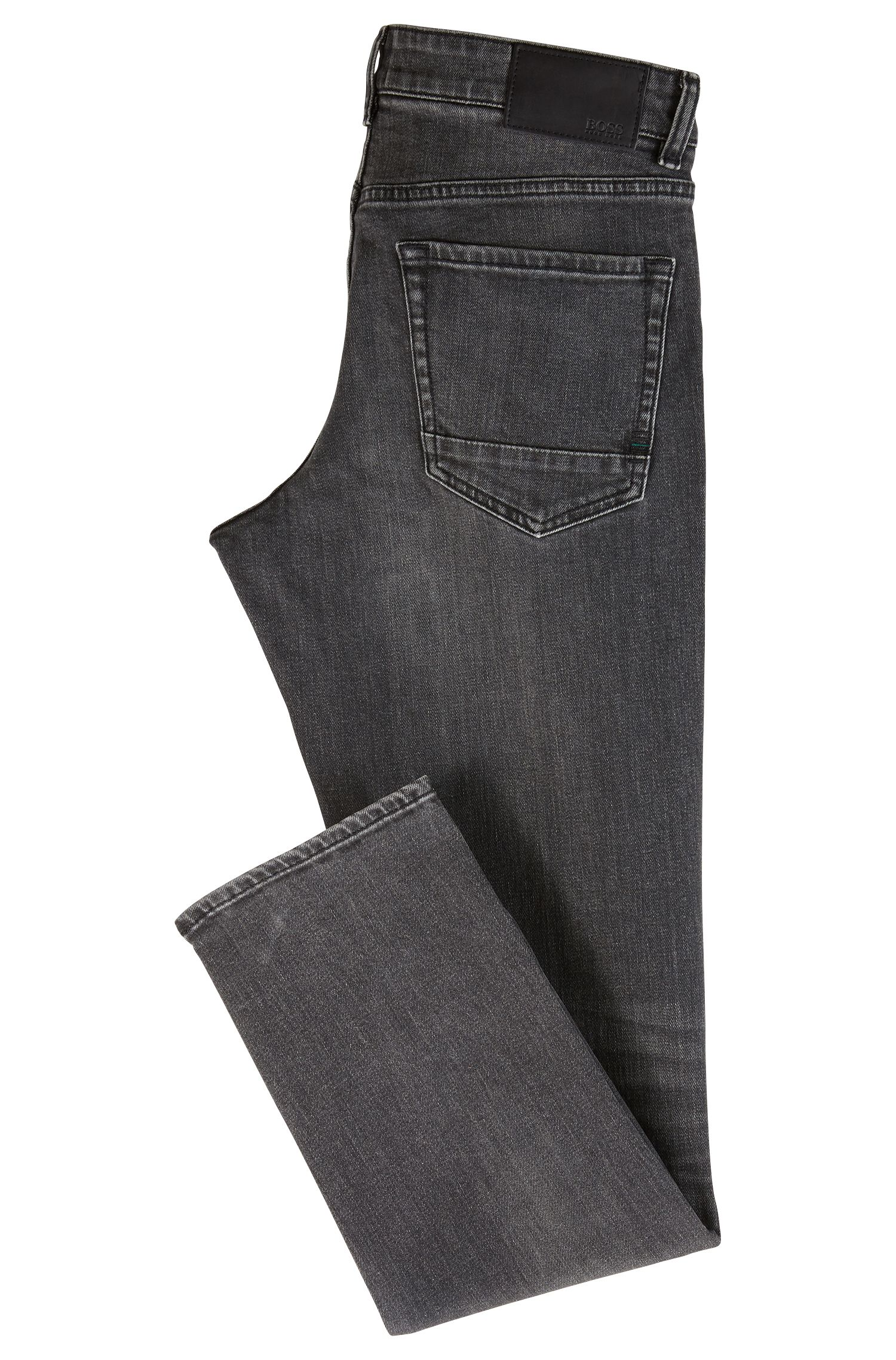 Jeans regular fit in denim elasticizzato nero, Grigio antracite