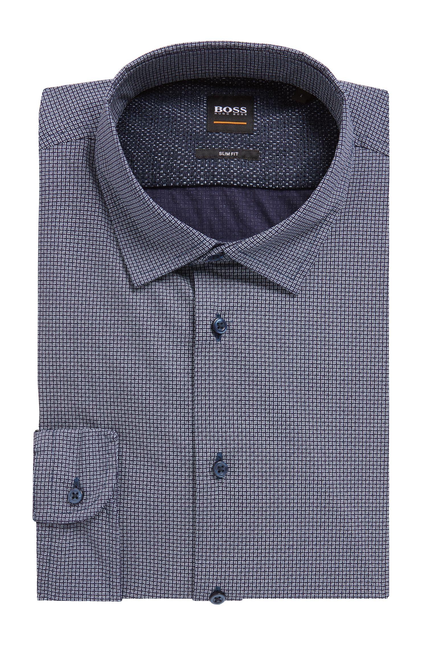 Slim-fit shirt in a geometric-print cotton blend, Open Blue