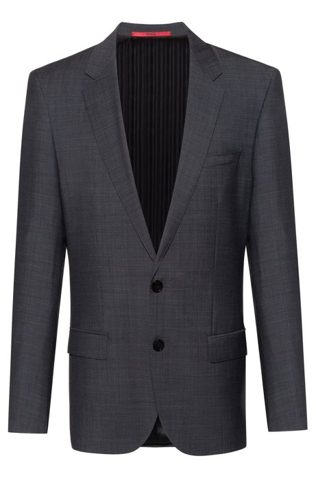 Slim-fit jacket in a mirco-patterned wool blend, Anthracite