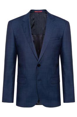 Veste Slim Fit en laine mélangée à micro-motif, Bleu foncé