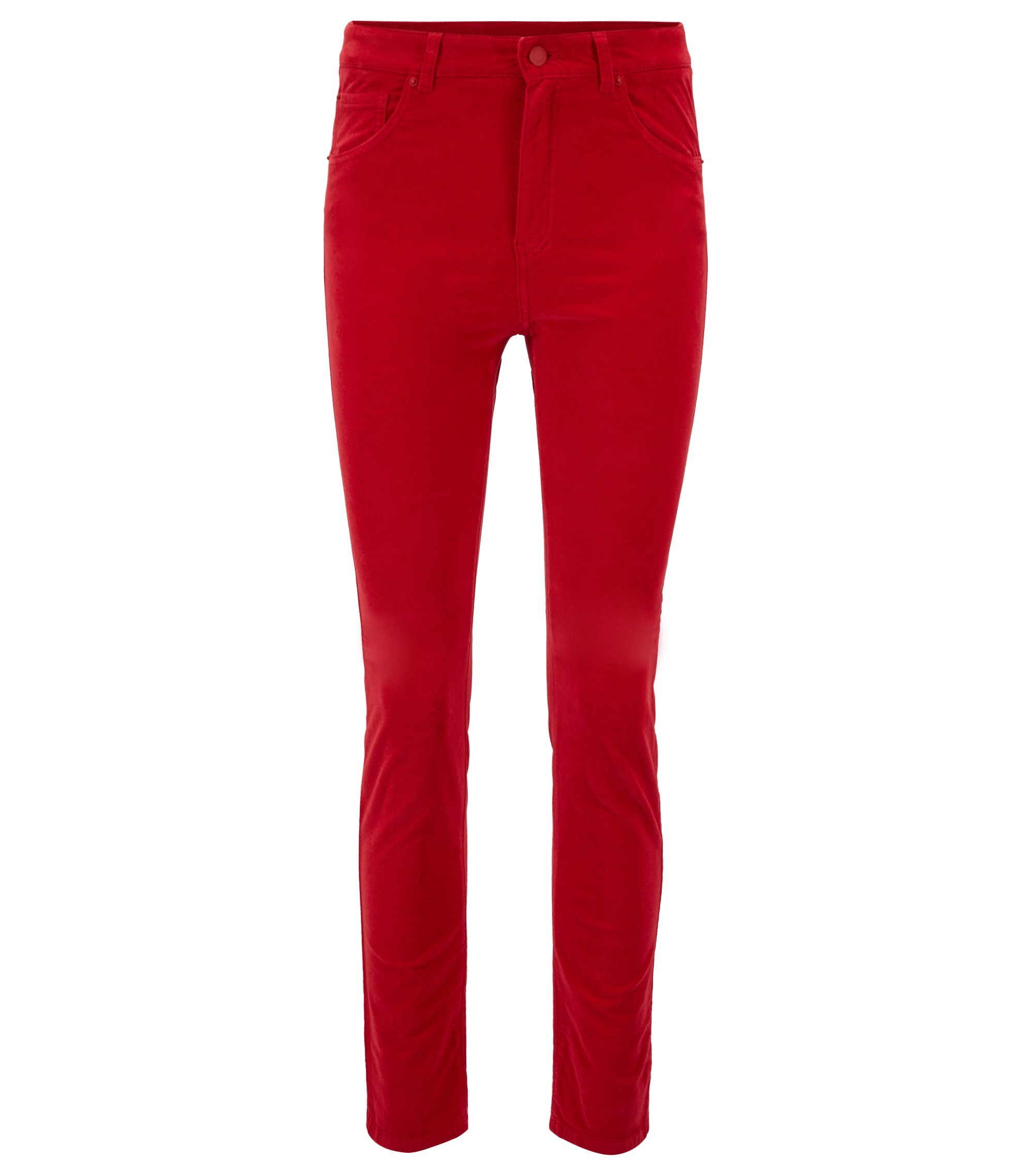 Slim-fit trousers in stretch cotton with velvet finish, Red