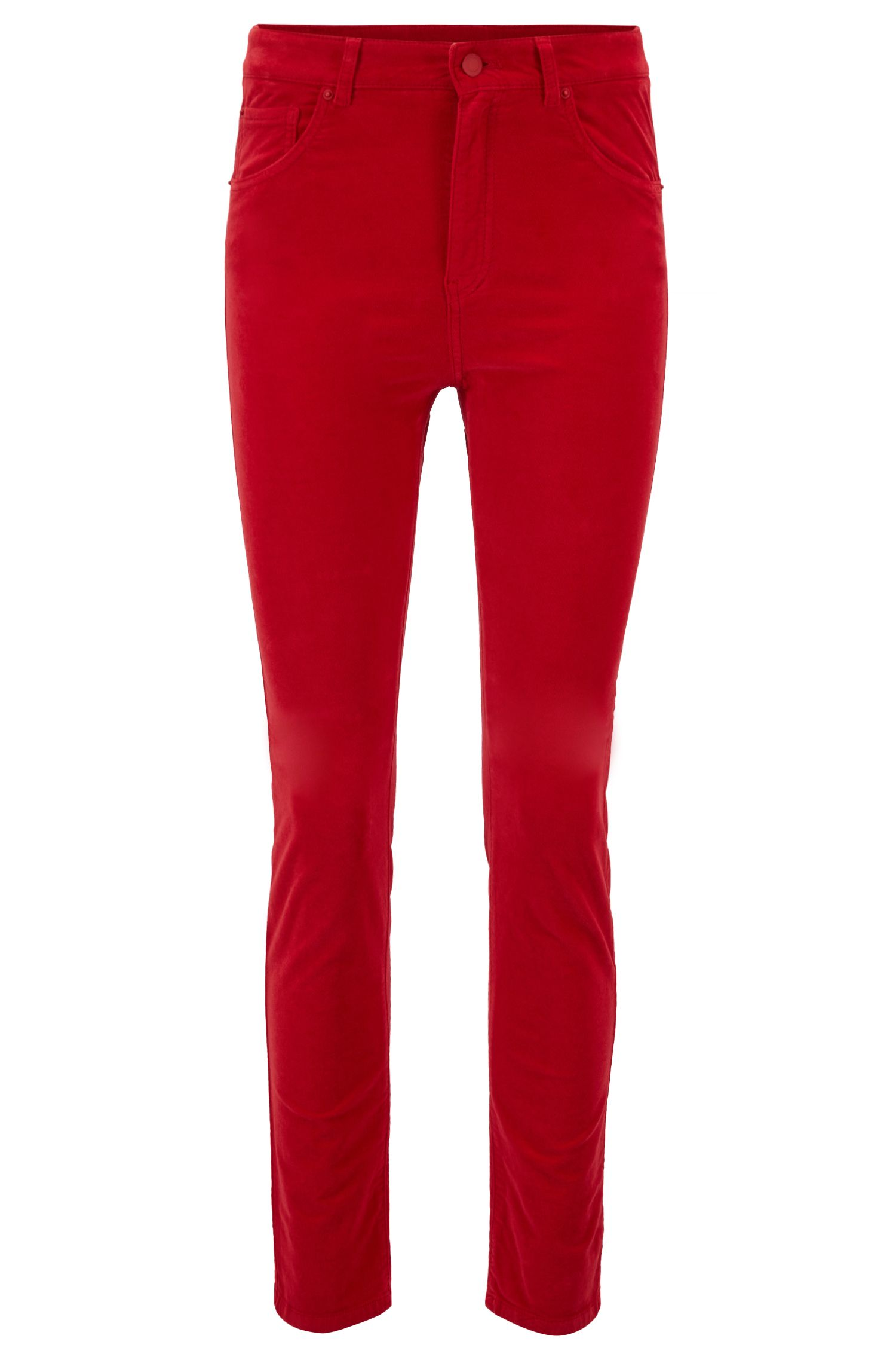 Pantalon Slim Fit en coton stretch à la finition velours, Rouge