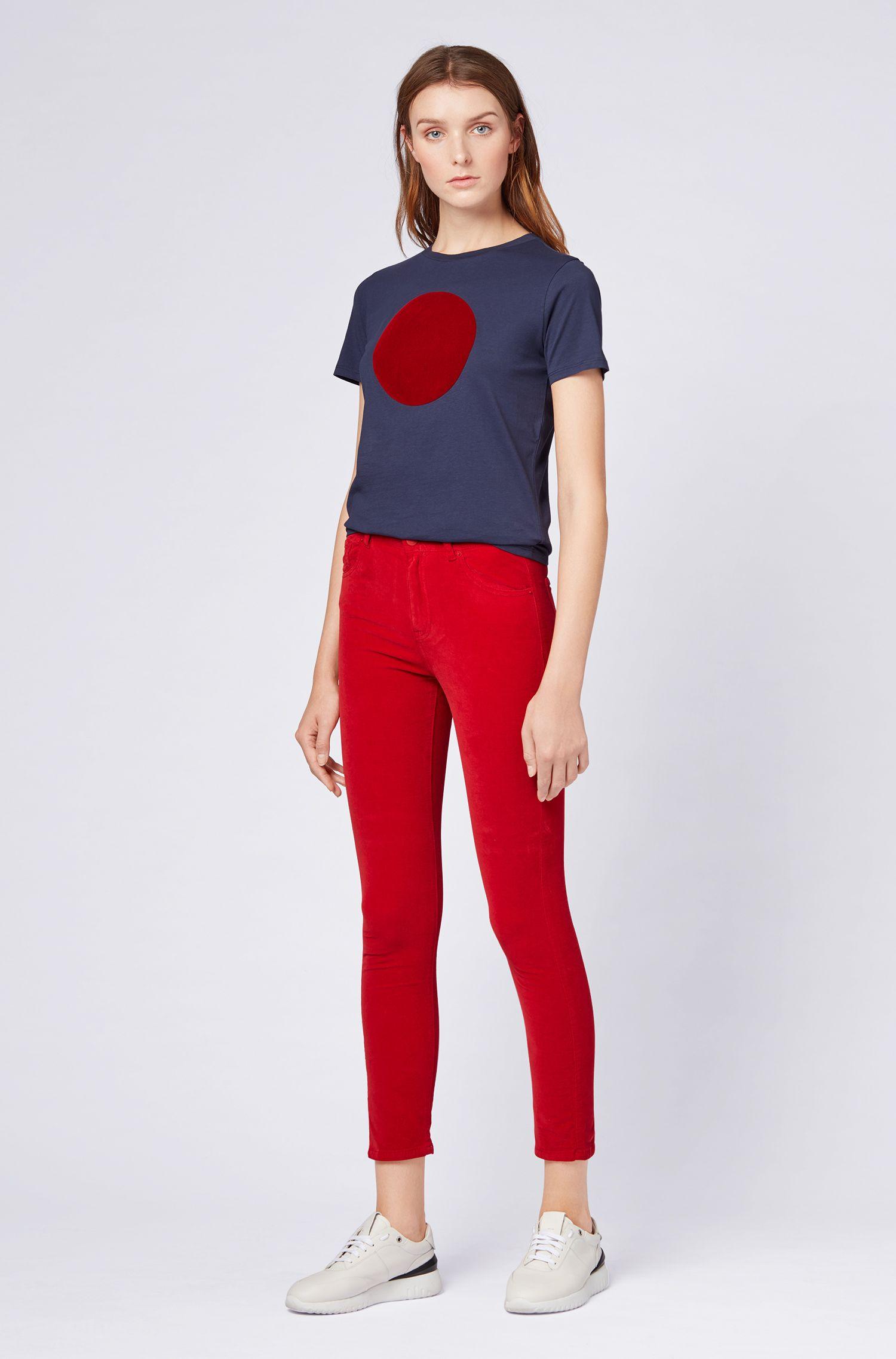 Pantalones slim fit en algodón elástico con acabado de terciopelo, Rojo