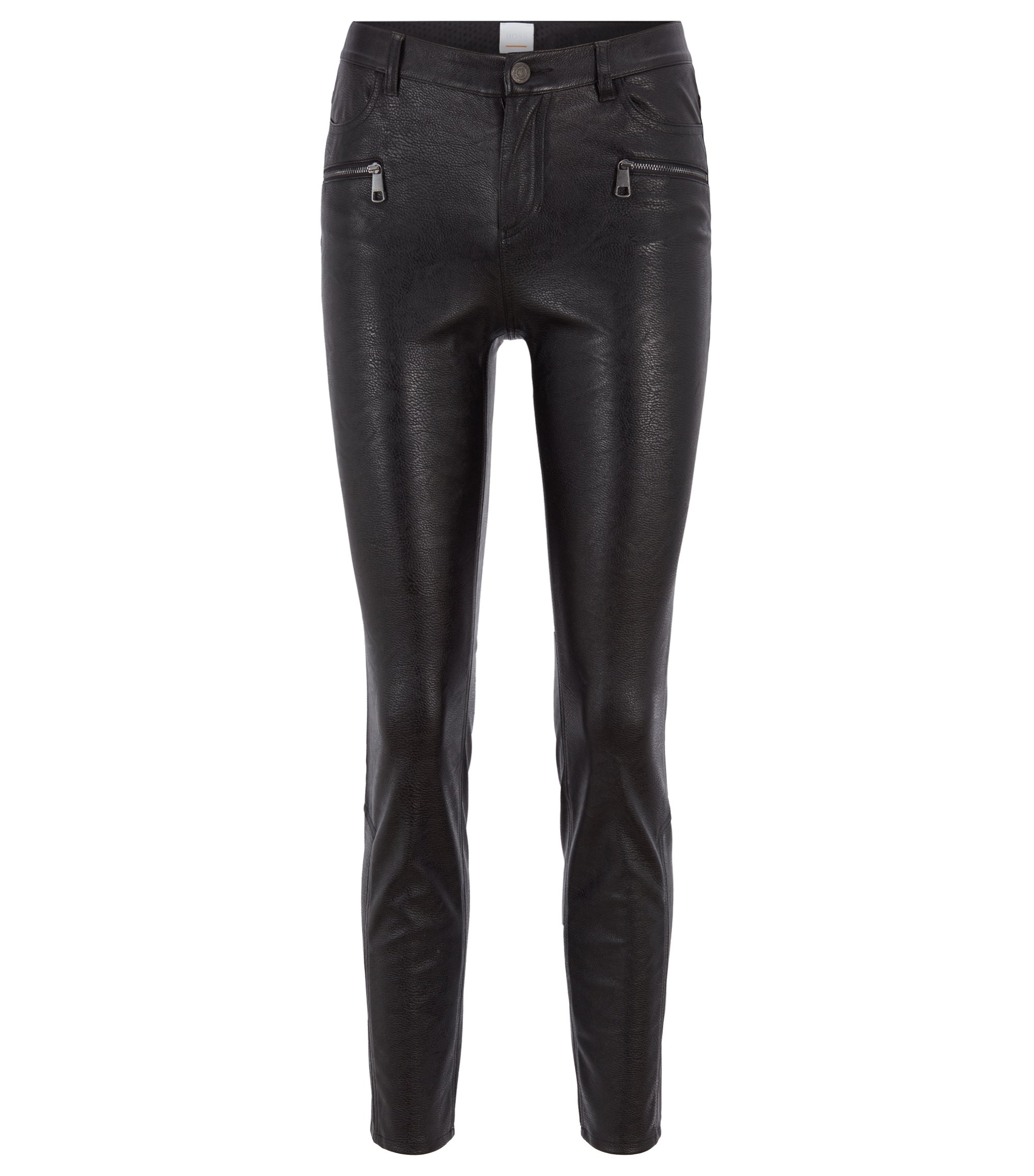 Slim-fit trousers in faux leather with zip details, Black