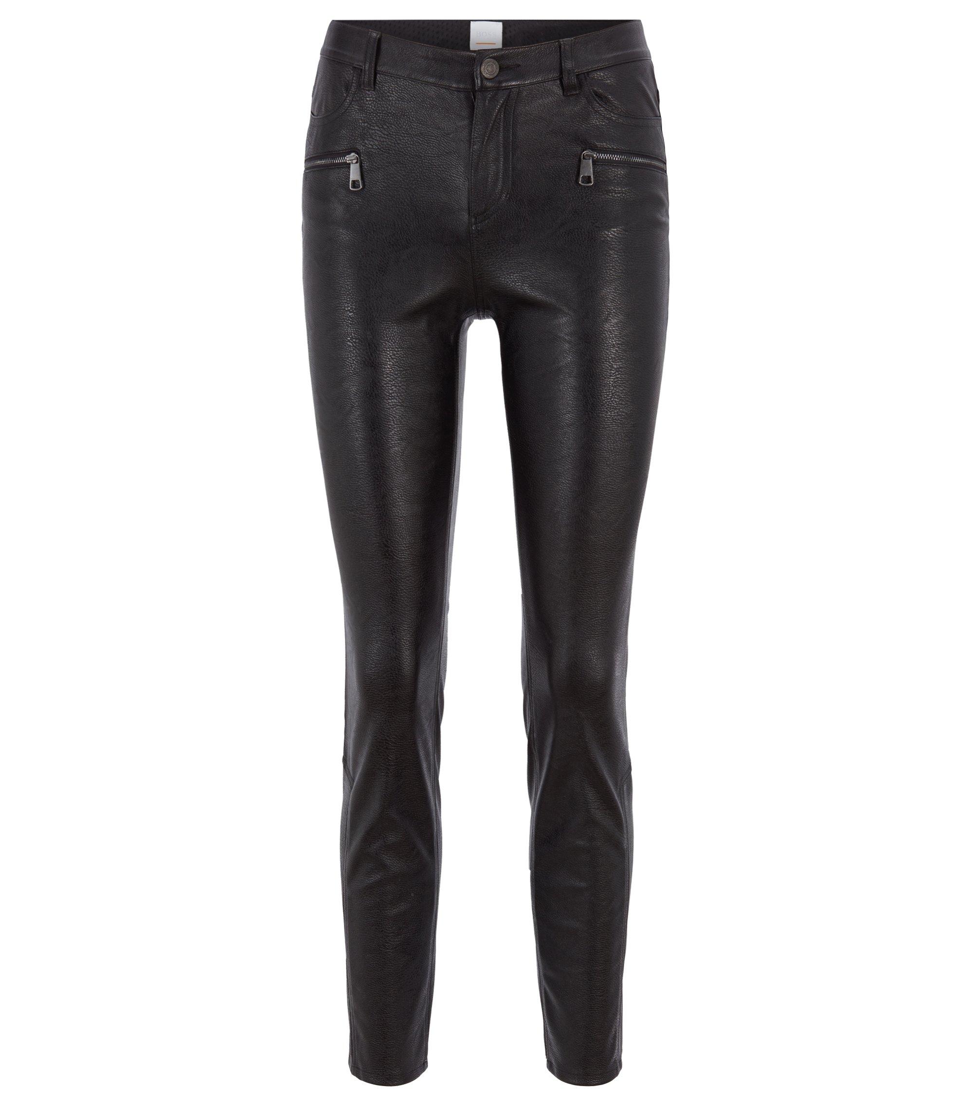 Slim-Fit Hose aus Kunstleder mit Reißverschluss-Details, Schwarz