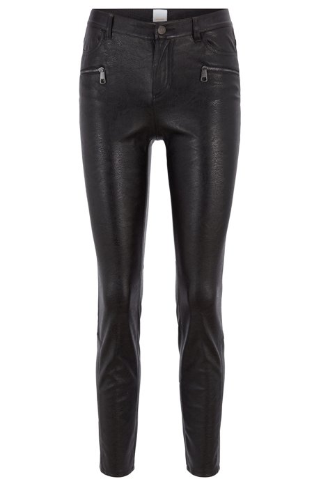 0125579d989 Slim-fit trousers in faux leather with zip details, Black