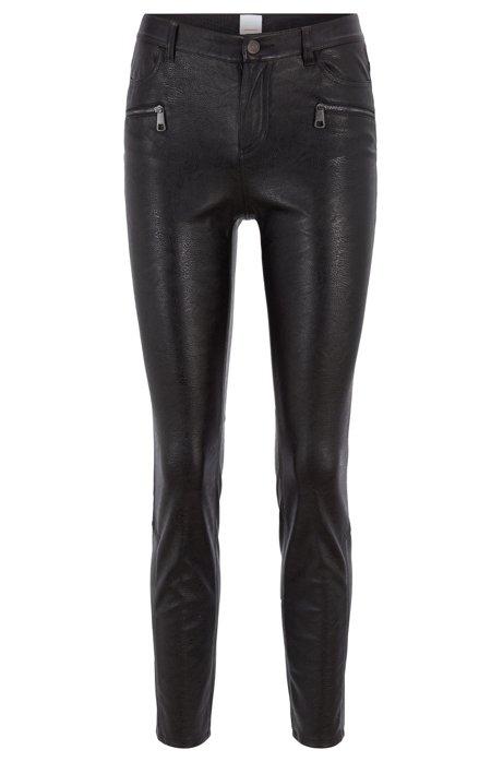 Slim-fit broek van imitatieleer met ritsdetails, Zwart