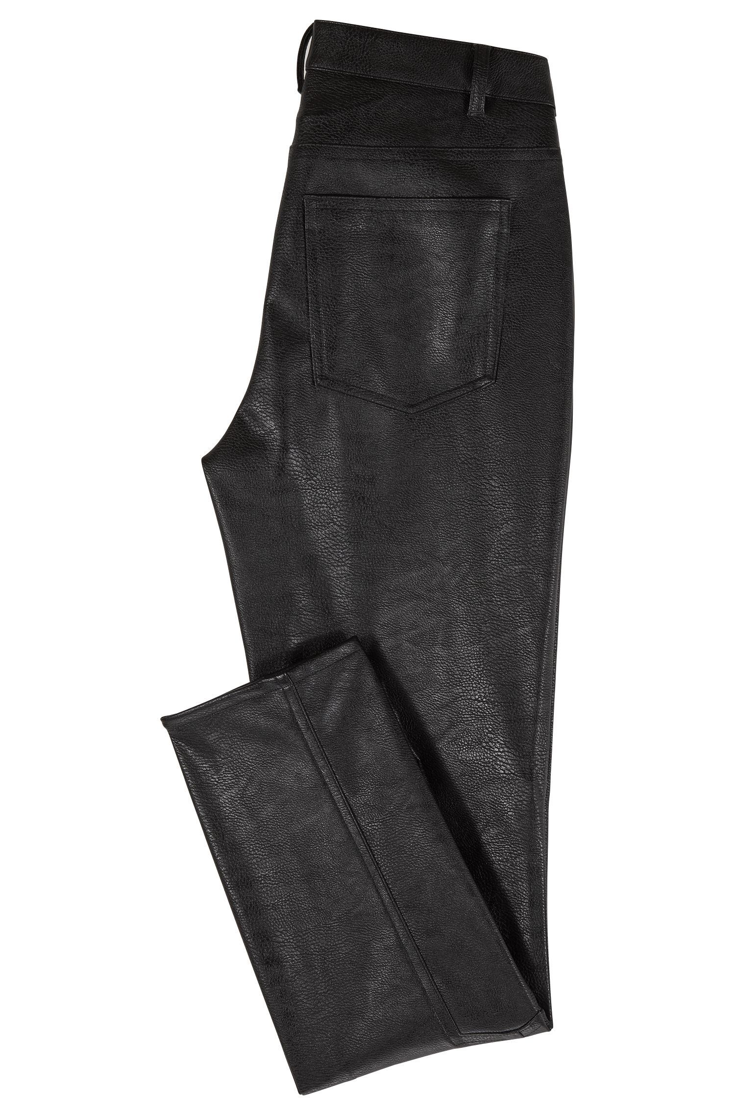 Pantaloni slim fit in similpelle con zip, Nero