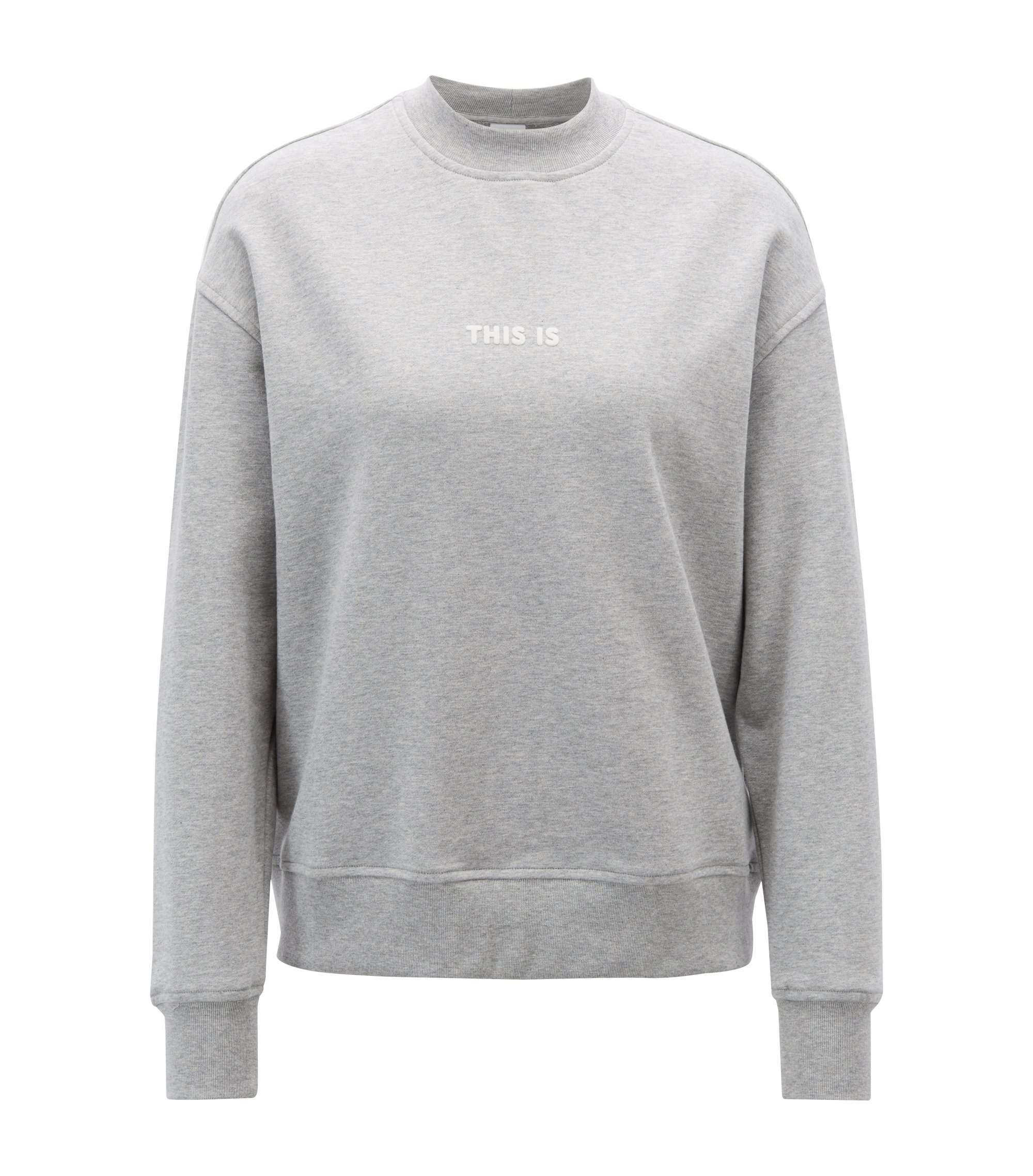 Oversized-fit sweatshirt in French terry with mock neckline, Silver