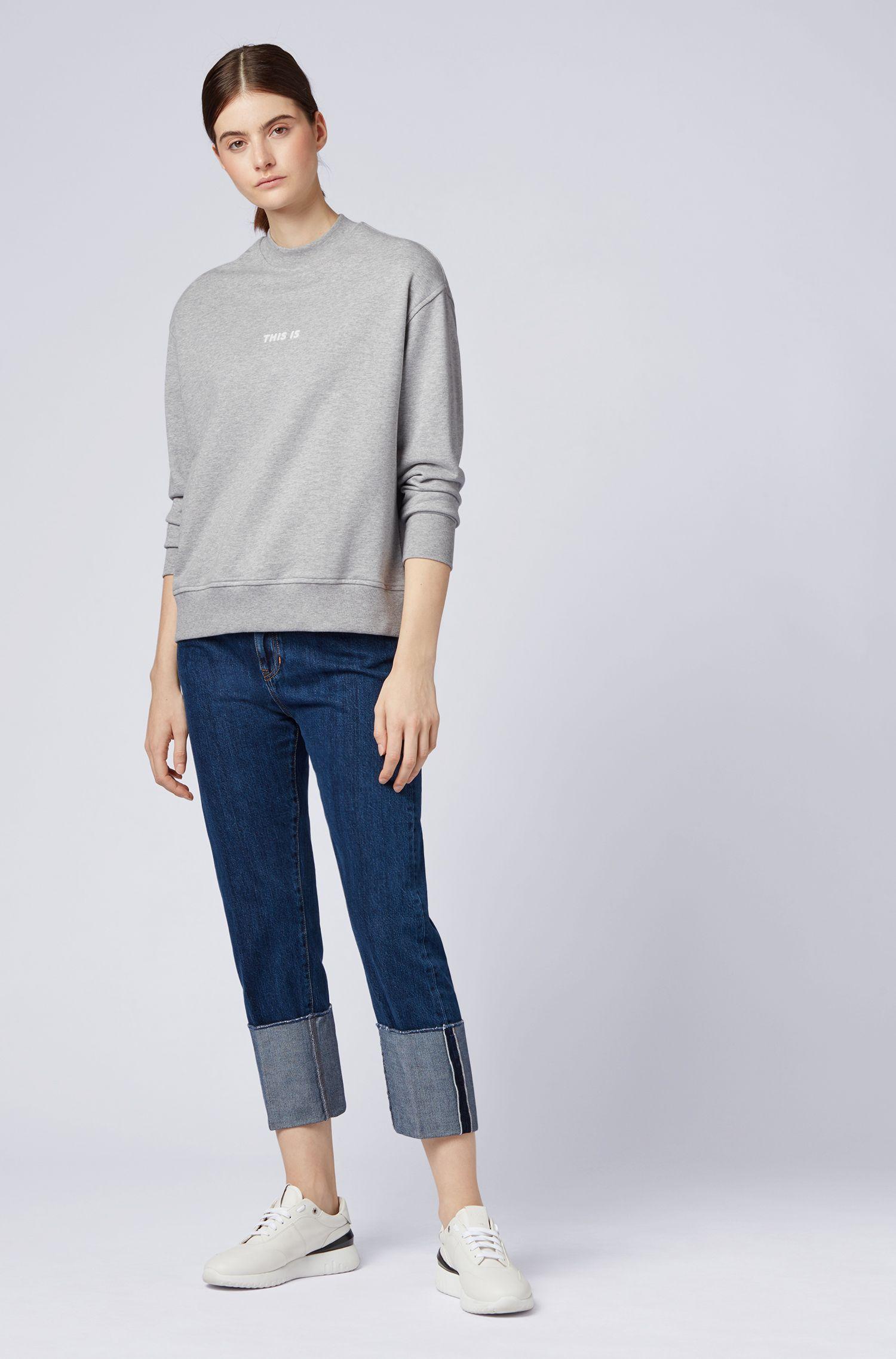 Oversized Sweatshirt aus French Terry mit Stehkragen, Silber