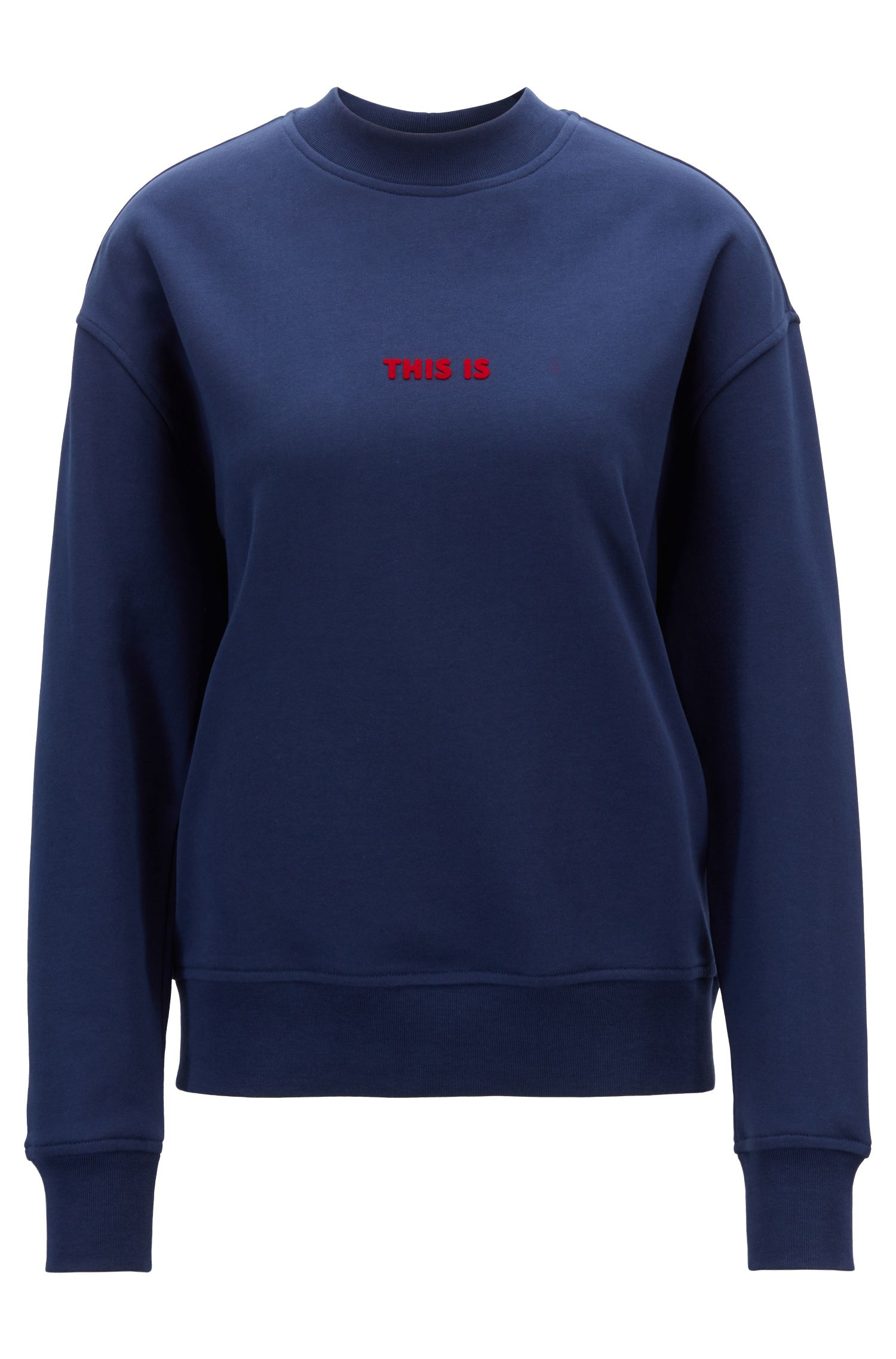 Oversized-fit sweatshirt in French terry with mock neckline, Dark Blue