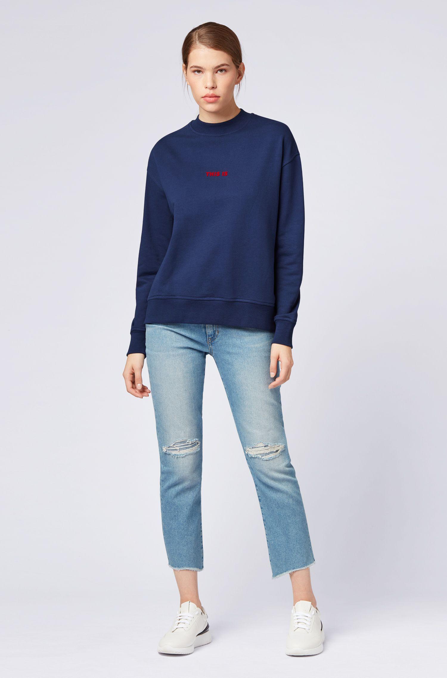 Oversized Sweatshirt aus French Terry mit Stehkragen, Dunkelblau