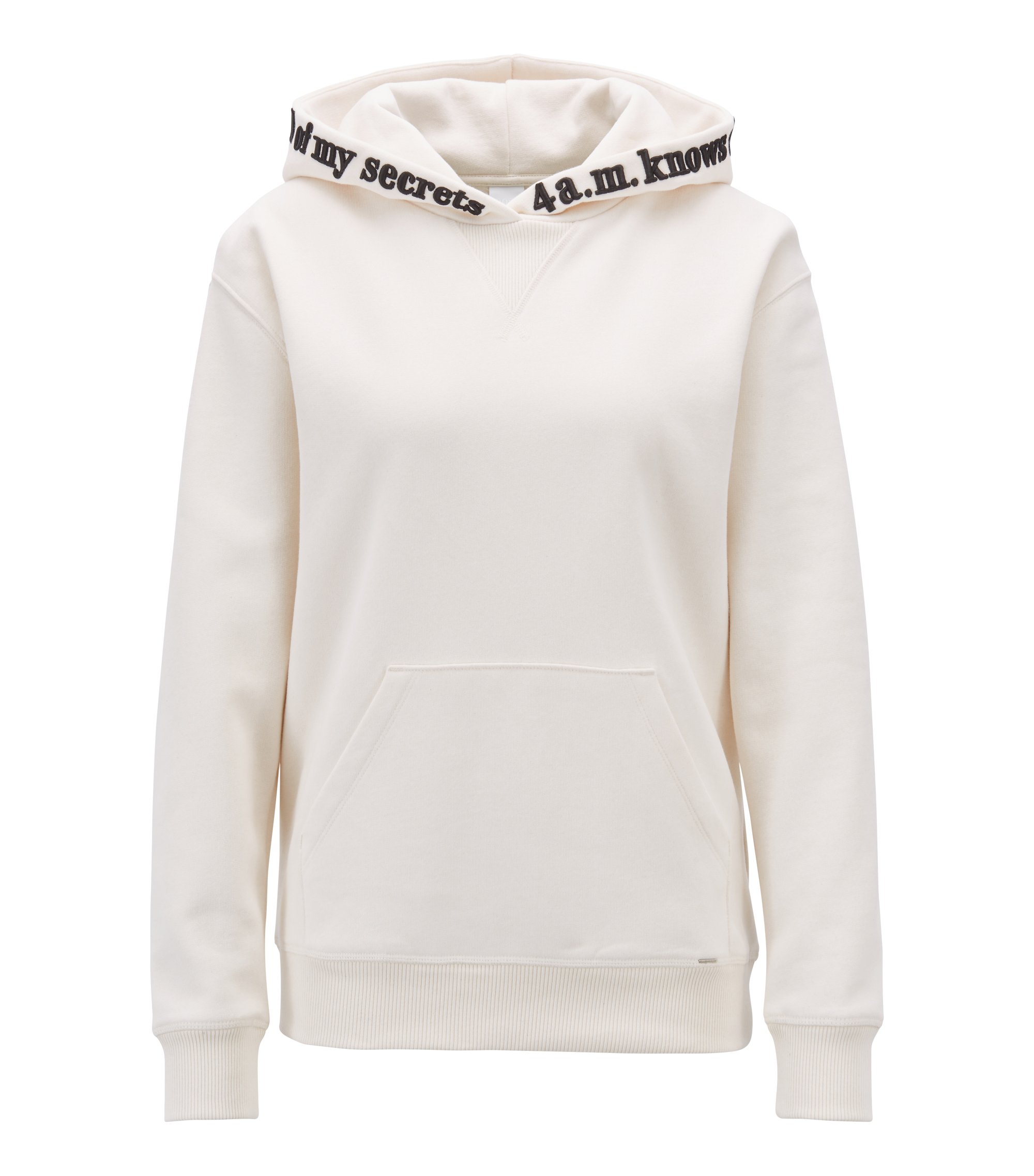 Melange-terry hooded sweatshirt with slogan embroidery, Natural