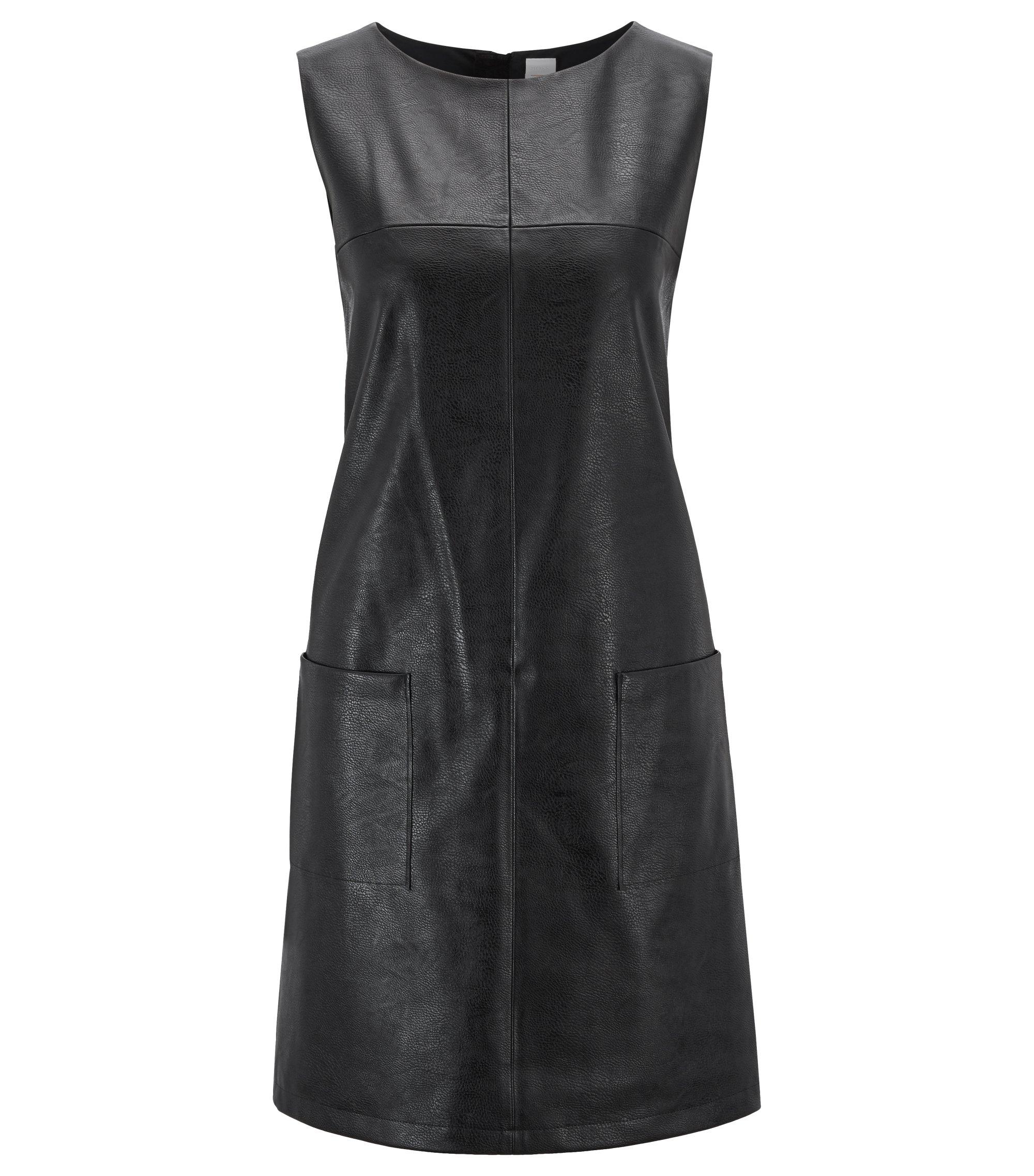 Mouwloze jurk met opgezette zakken van imitatieleer, Zwart