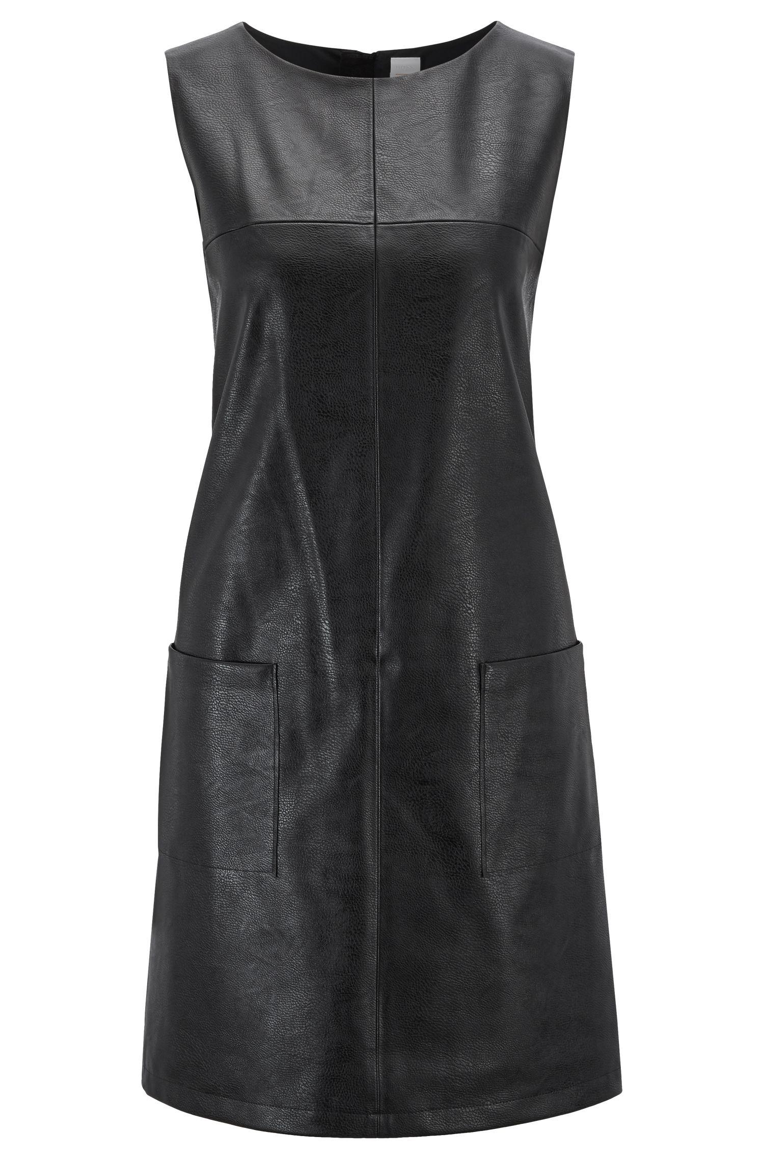 Ärmelloses Kleid aus Kunstleder mit aufgesetzten Taschen, Schwarz