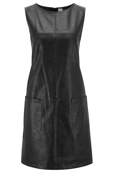 Faux-leather sleeveless dress with patched pockets, Black