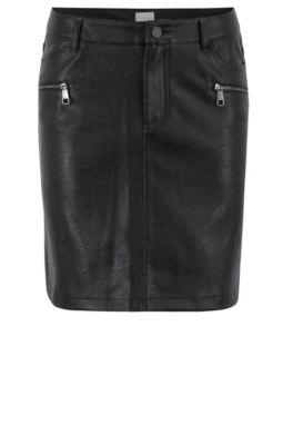 Minirock aus Kunstleder mit Reißverschlüssen im Biker-Stil, Schwarz