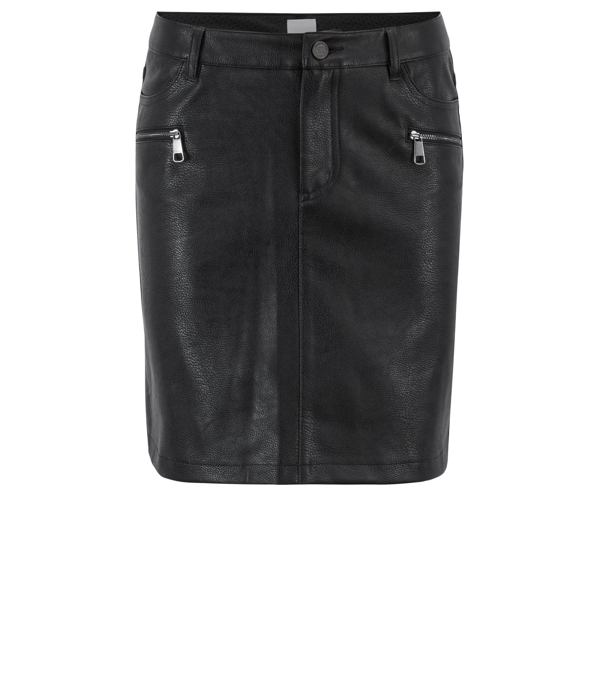 Faux-leather mini skirt with biker-inspired zipped details, Black