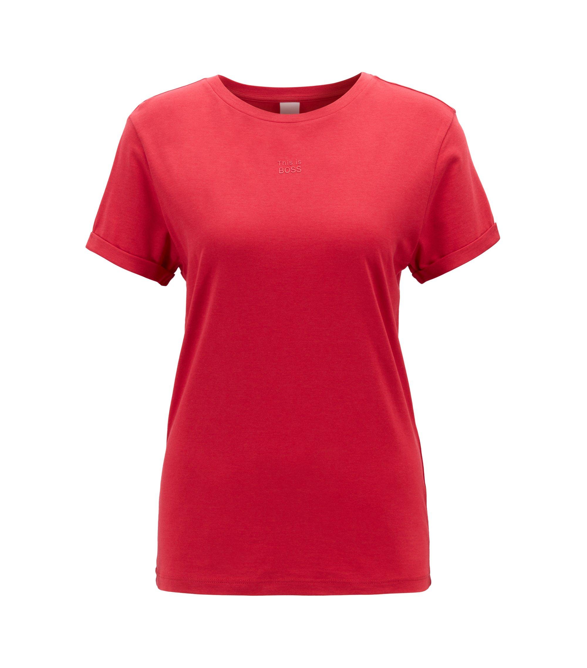T-shirt relaxed fit con maniche arrotolate in misto cotone con modal, Rosso