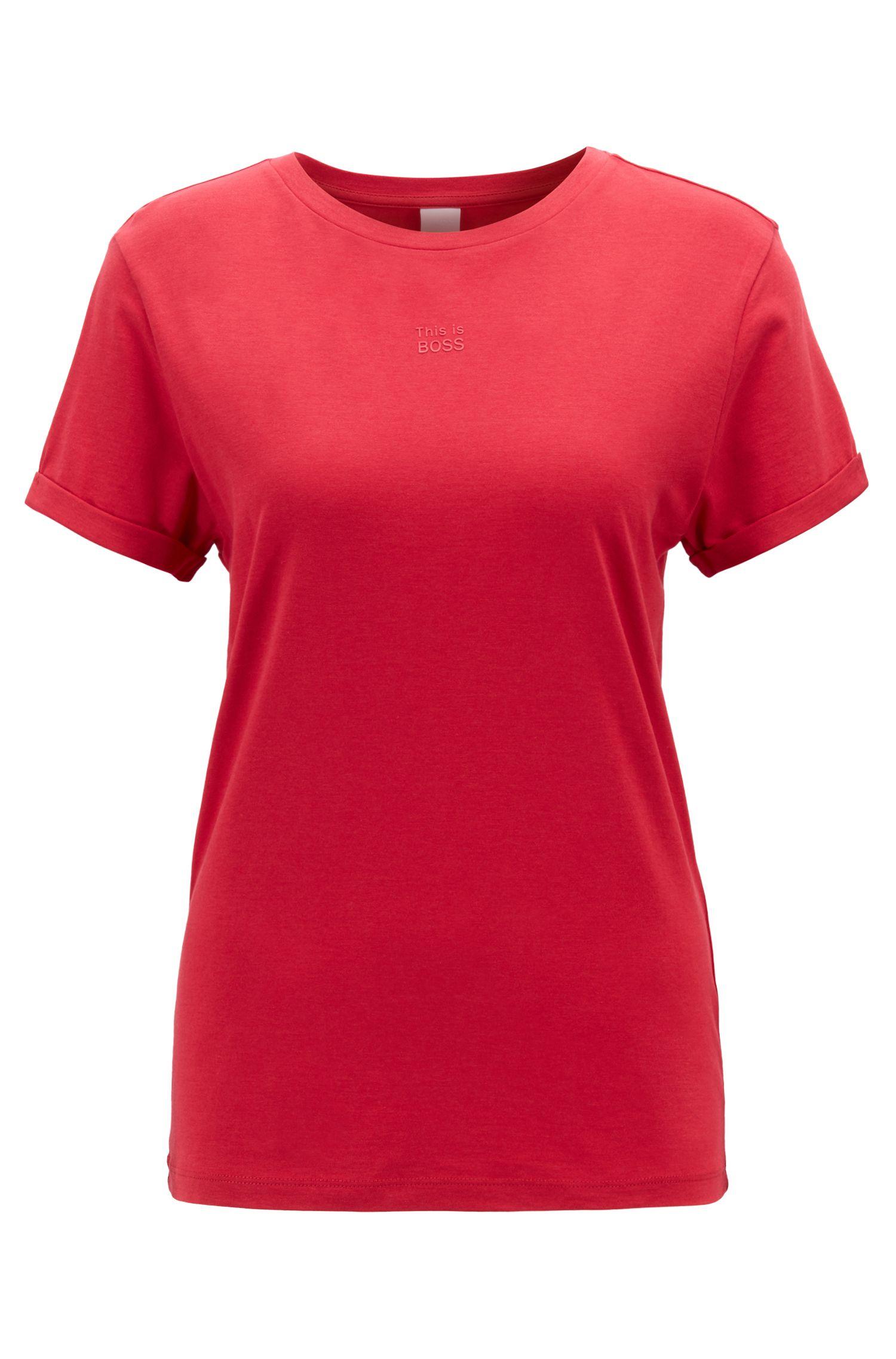 T-Shirt aus Baumwoll-Modal-Mix mit umgeschlagenen Ärmeln, Rot