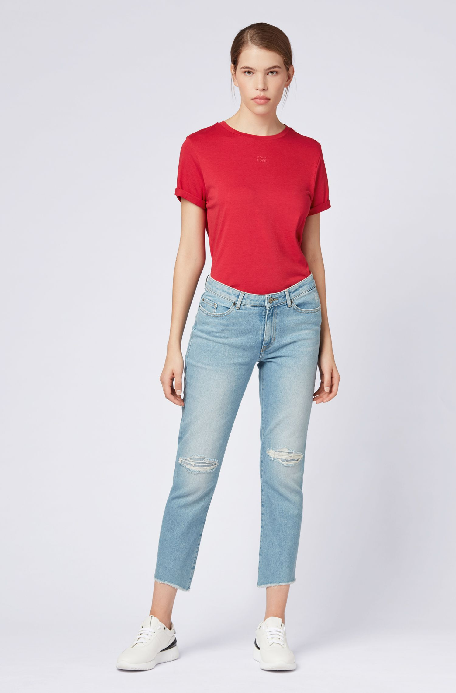 Relaxed-fit T-shirt with rolled sleeves in a cotton-modal blend, Red