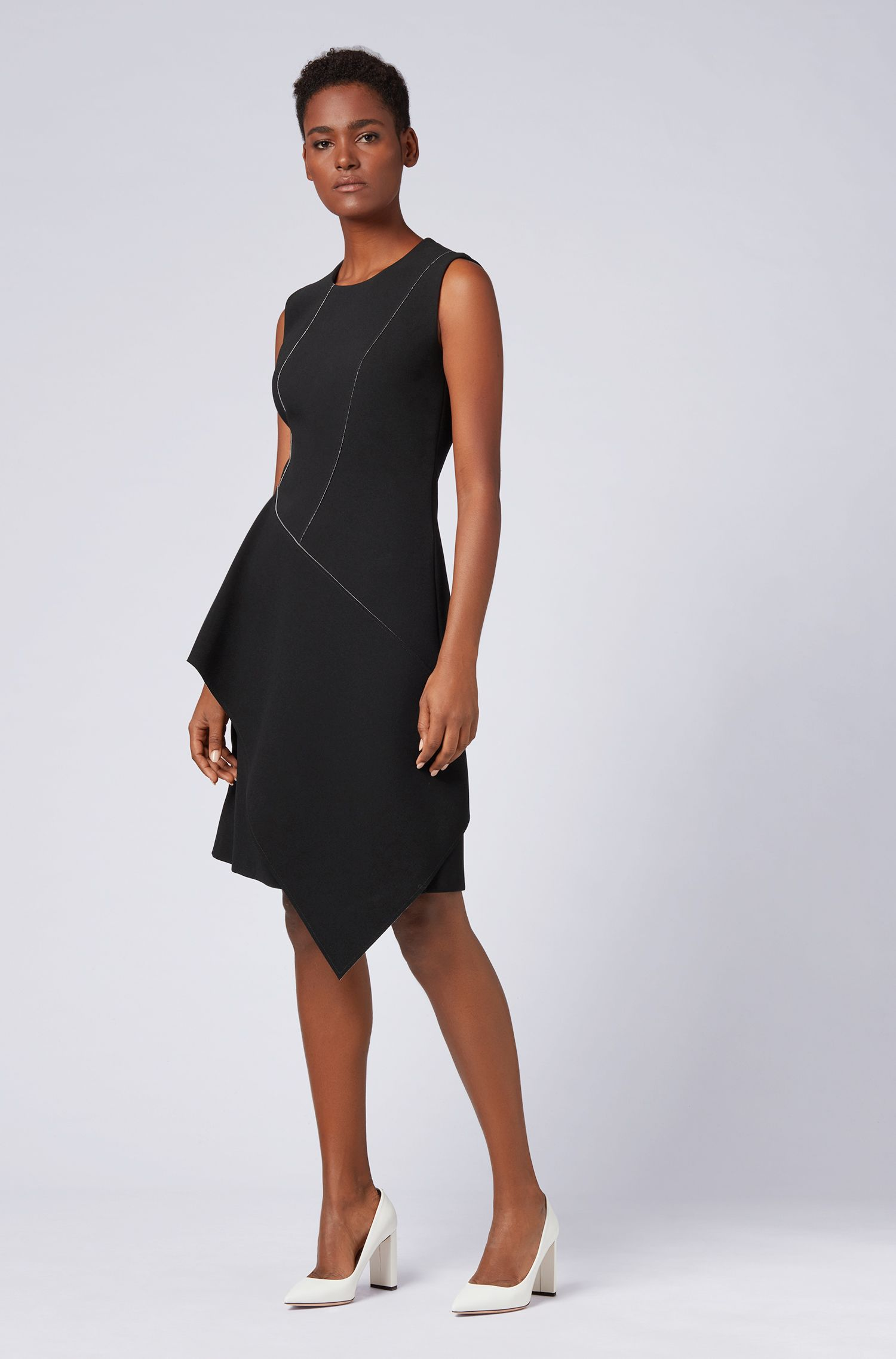 Sleeveless dress in two-colour bonded crepe, Patterned