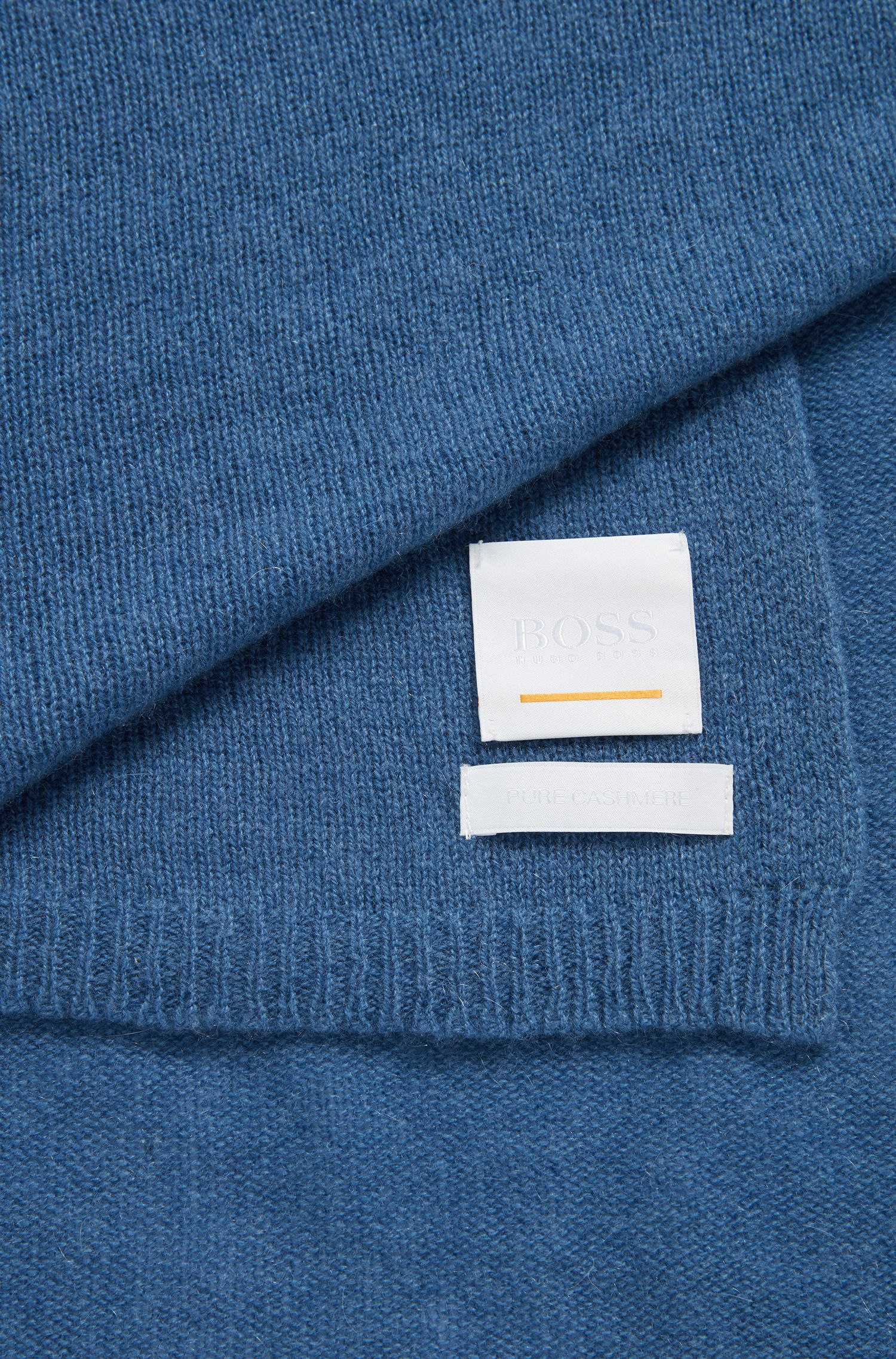 Cashmere scarf with logo label, Silver