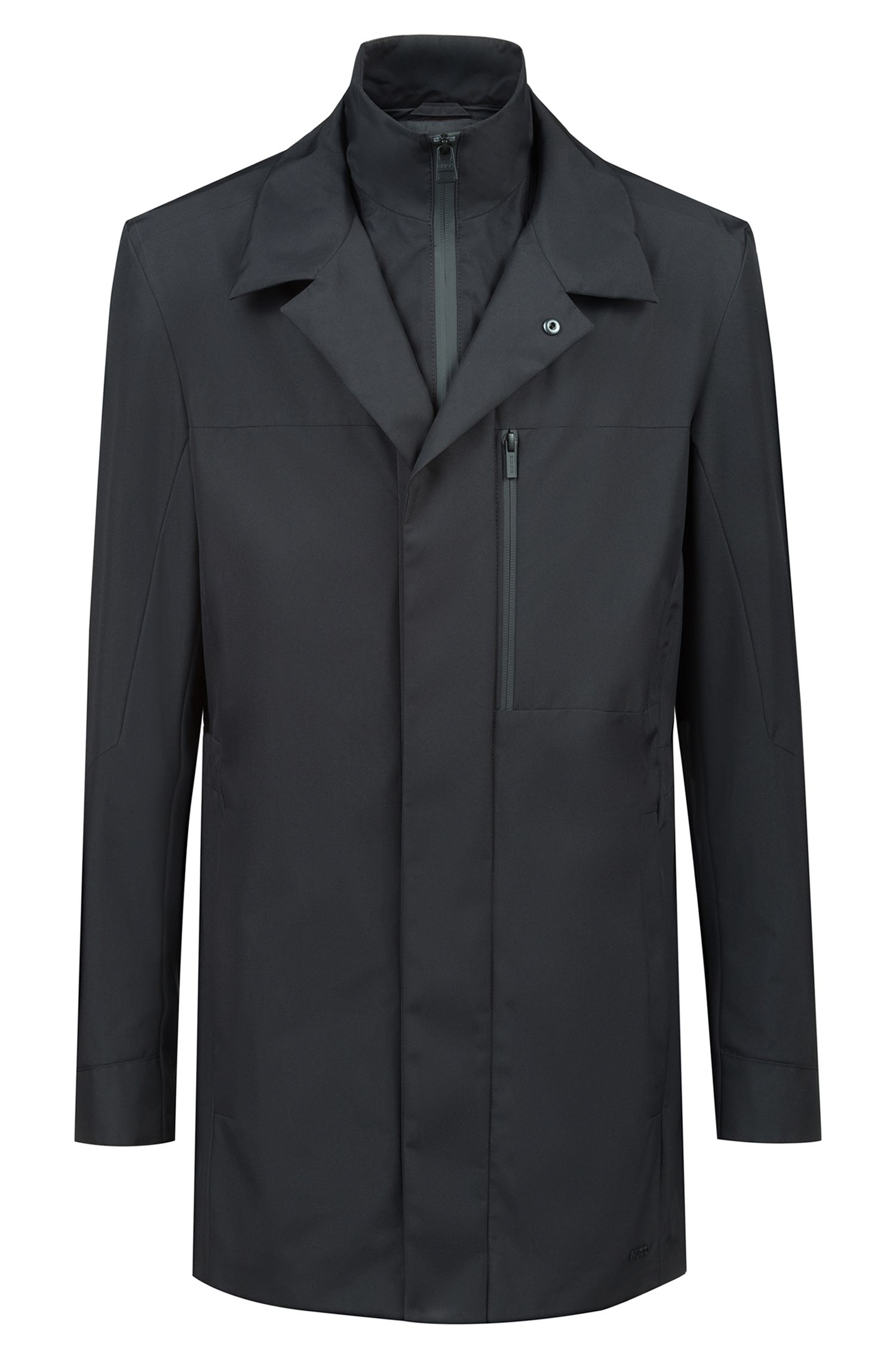 Veste imperméable avec col montant amovible, Noir