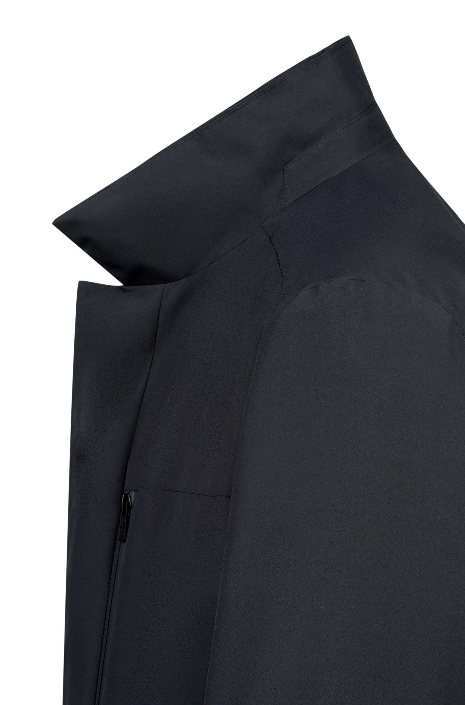 Wasserabweisende Jacke mit abnehmbarem Stehkragen, Schwarz