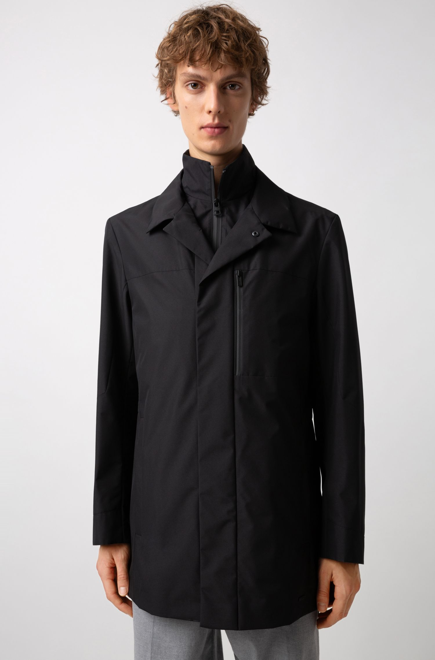 Water-repellent jacket with detachable stand collar, Black