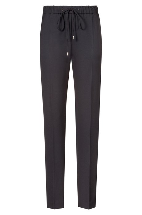 Regular-fit broek in stretchcrêpe met biesdetail, Zwart