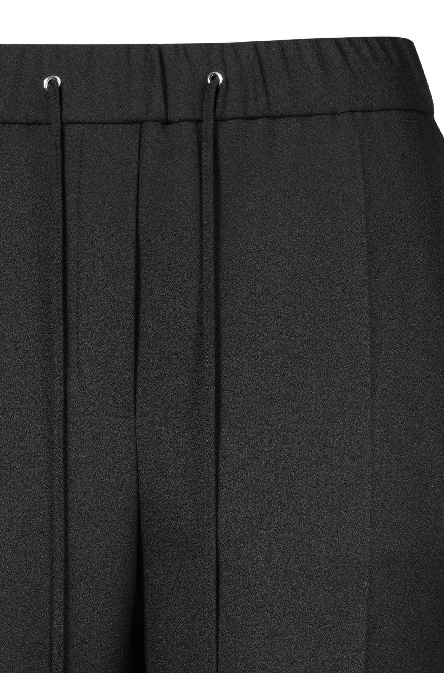 Regular-fit trousers in stretch crepe with tape detail, Black