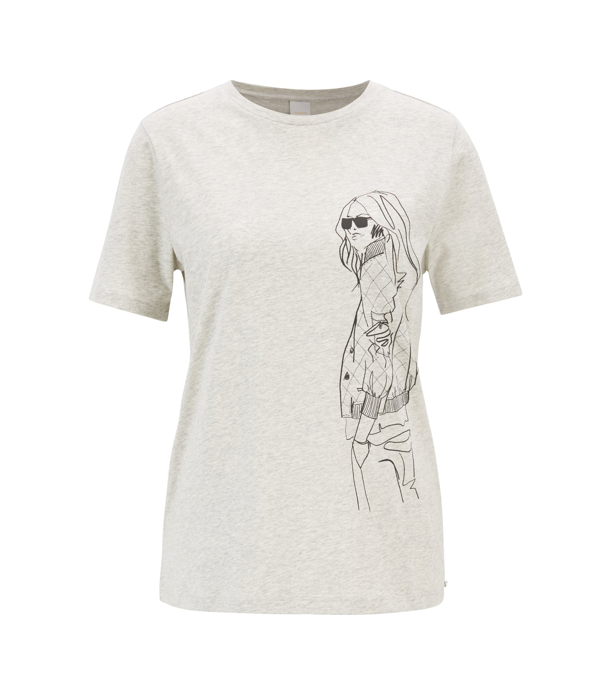 T-shirt Boxy Fit en jersey de coton avec illustration dessinée à la main, Argent