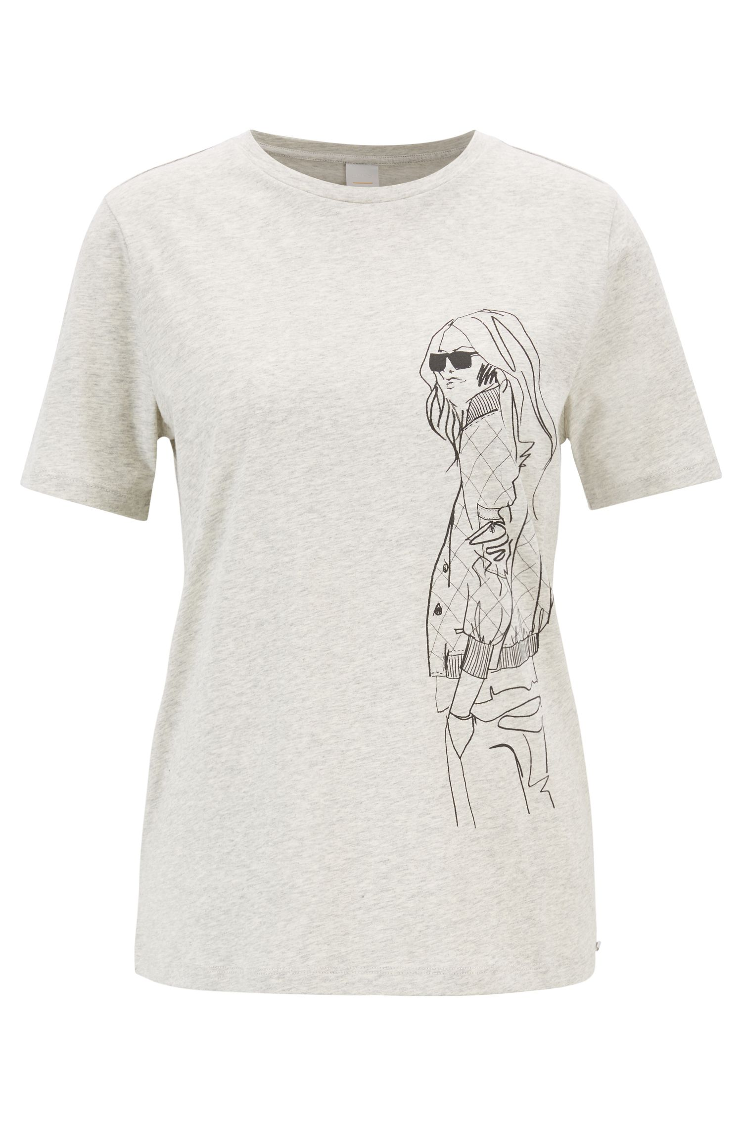 Boxy-fit T-shirt in cotton jersey with hand-drawn artwork, Silver