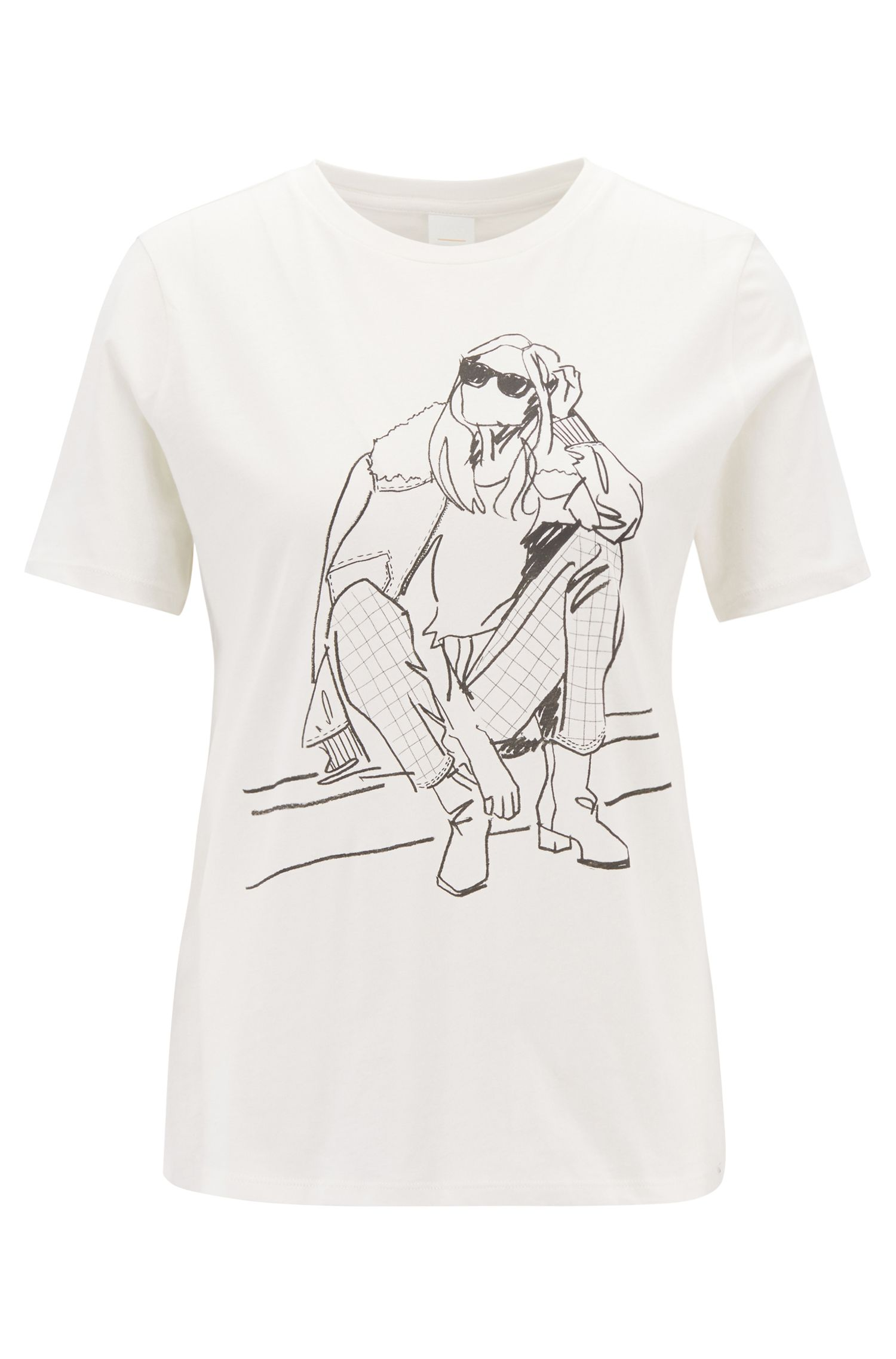 Boxy-fit T-shirt in cotton jersey with hand-drawn artwork, Natural