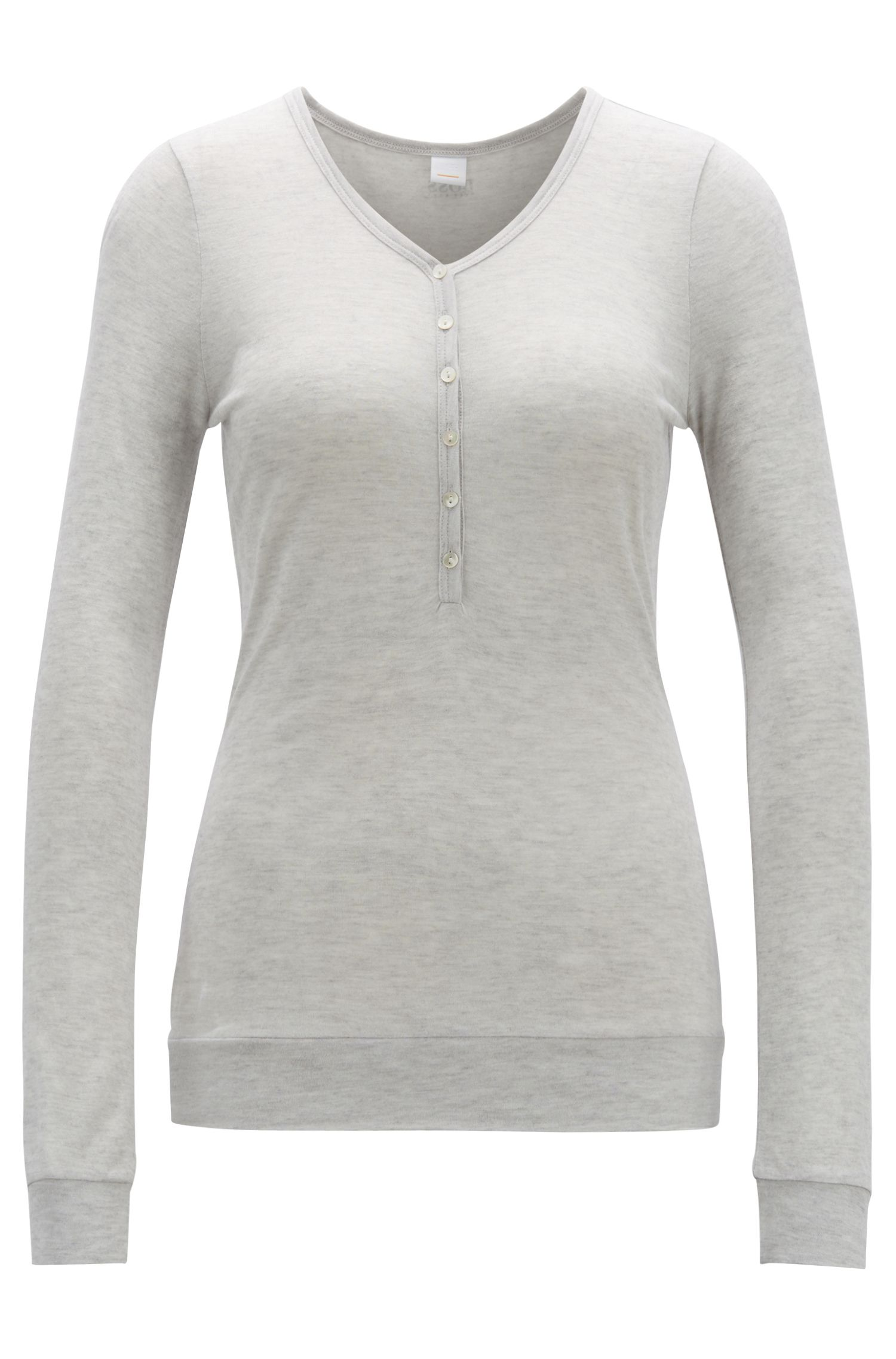 Long-sleeved henley T-shirt in jersey, Grey