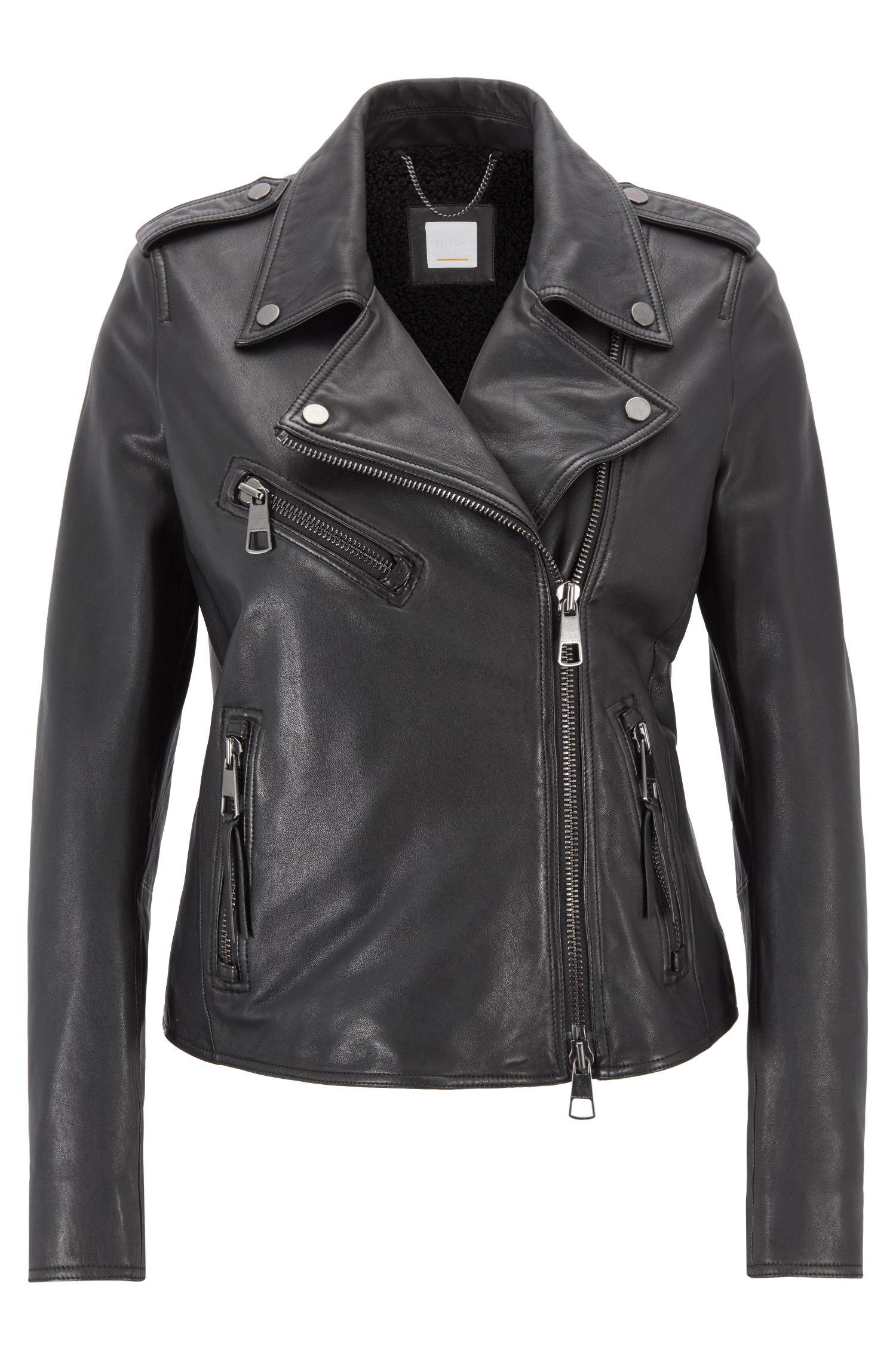 Asymmetric biker jacket in nappa lambskin leather with teddy lining, Black