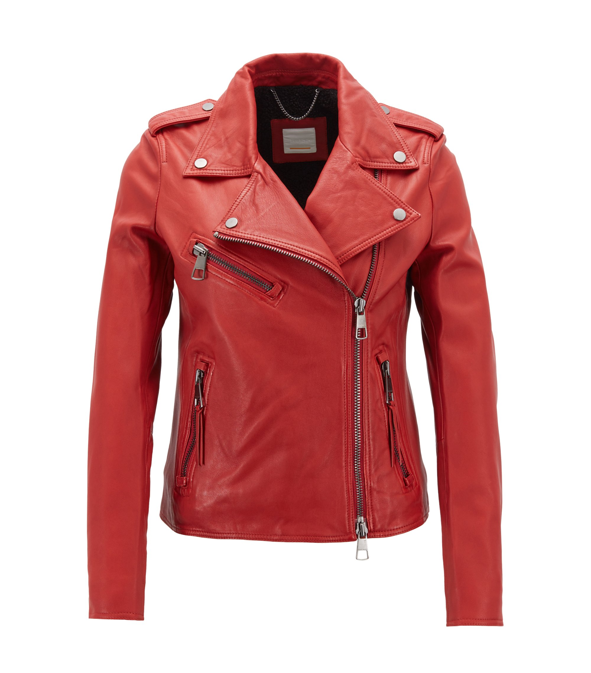 Asymmetric biker jacket in nappa lambskin leather with teddy lining, Red
