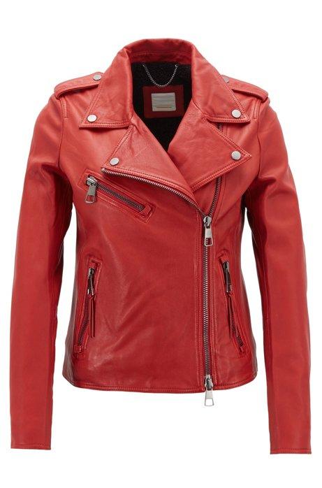 Asymmetric biker jacket in nappa lambskin leather with teddy lining, Red