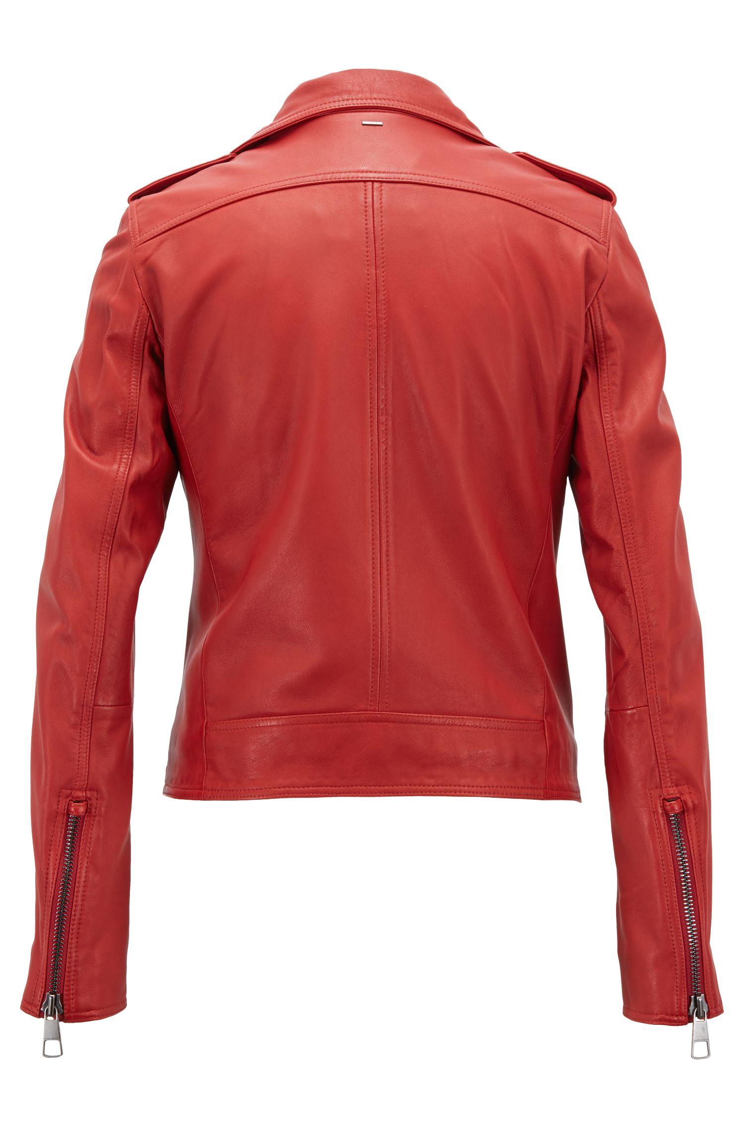 Blouson de motard asymétrique en cuir d'agneau nappa, avec doublure en peluche, Rouge