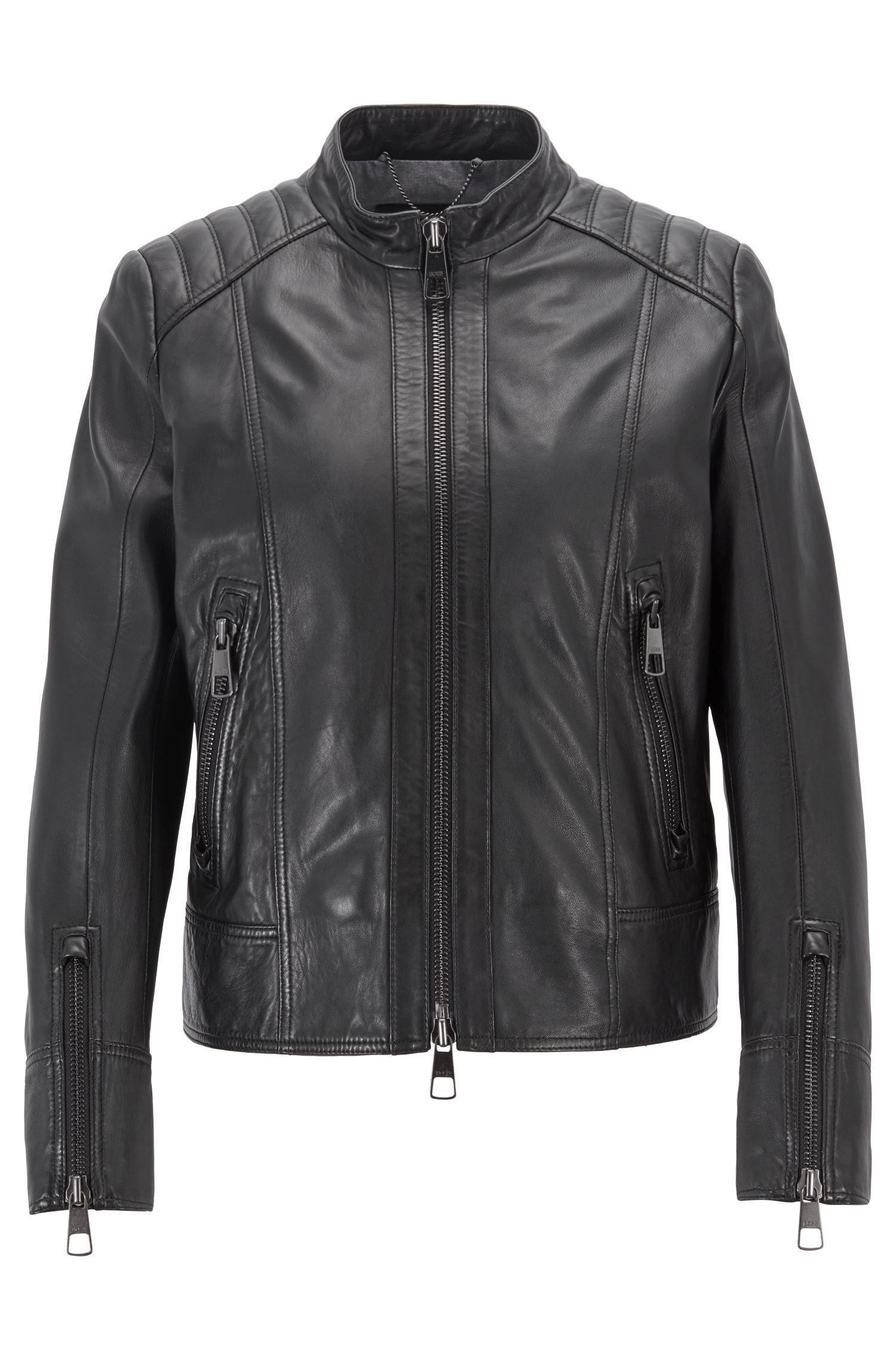 Regular-fit biker jacket in lambskin leather, Black
