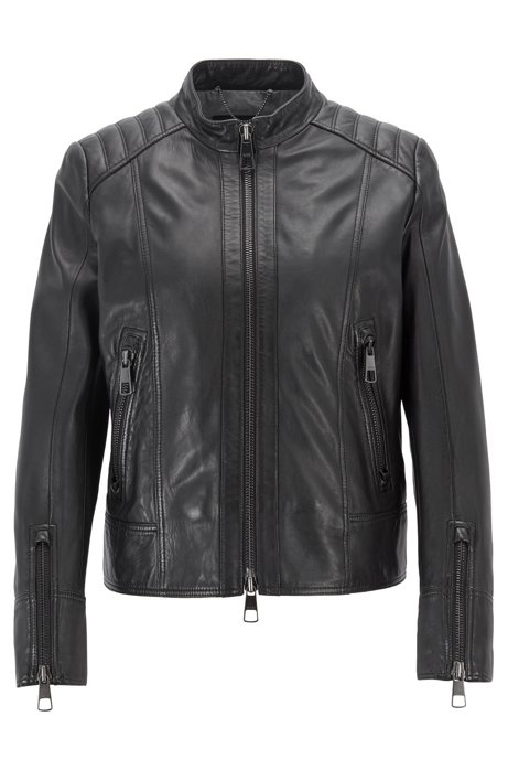 a0359b023694 Regular-fit biker jacket in lambskin leather, Black