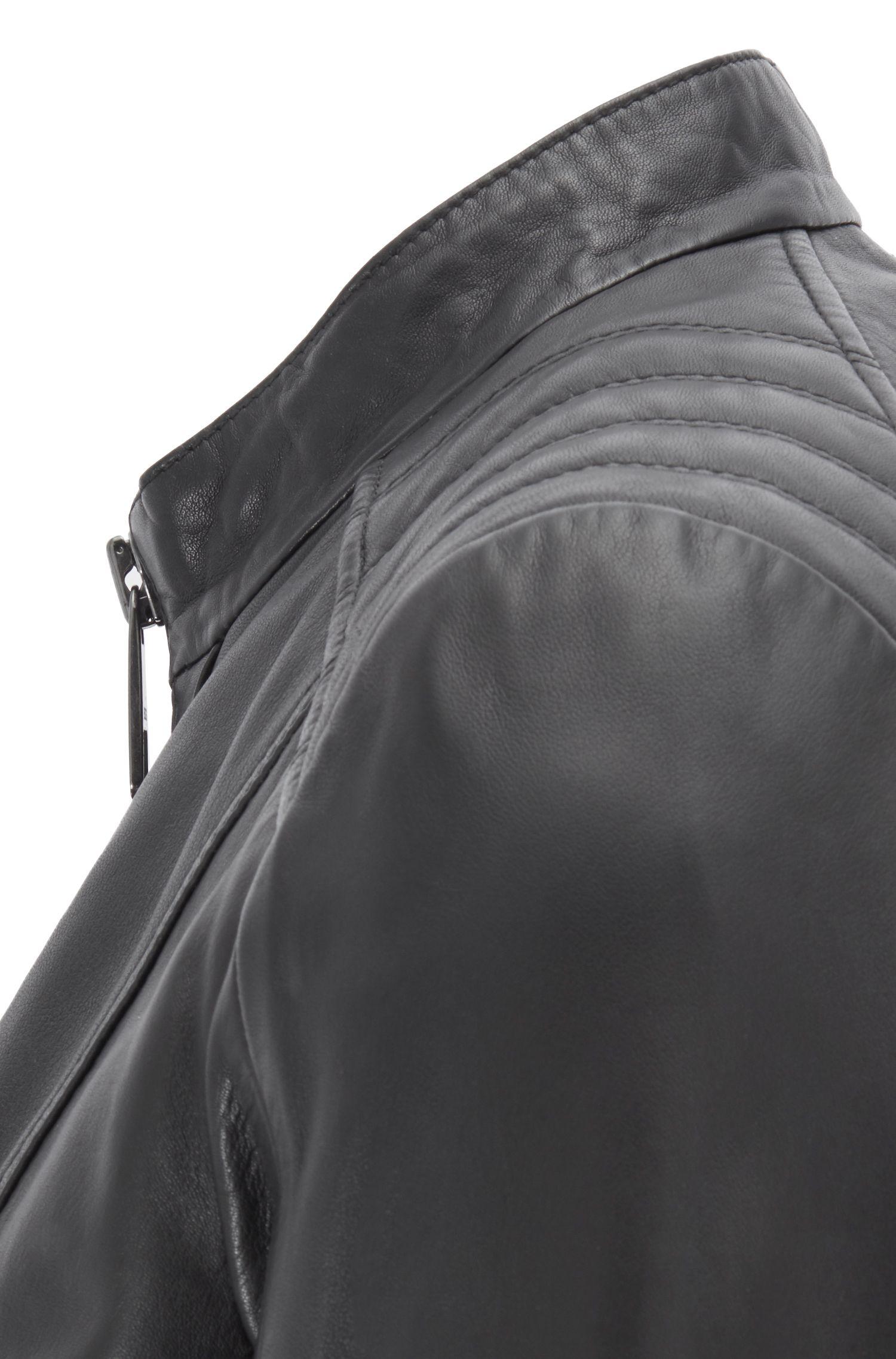 Blouson de motard Regular Fit en cuir d'agneau, Noir