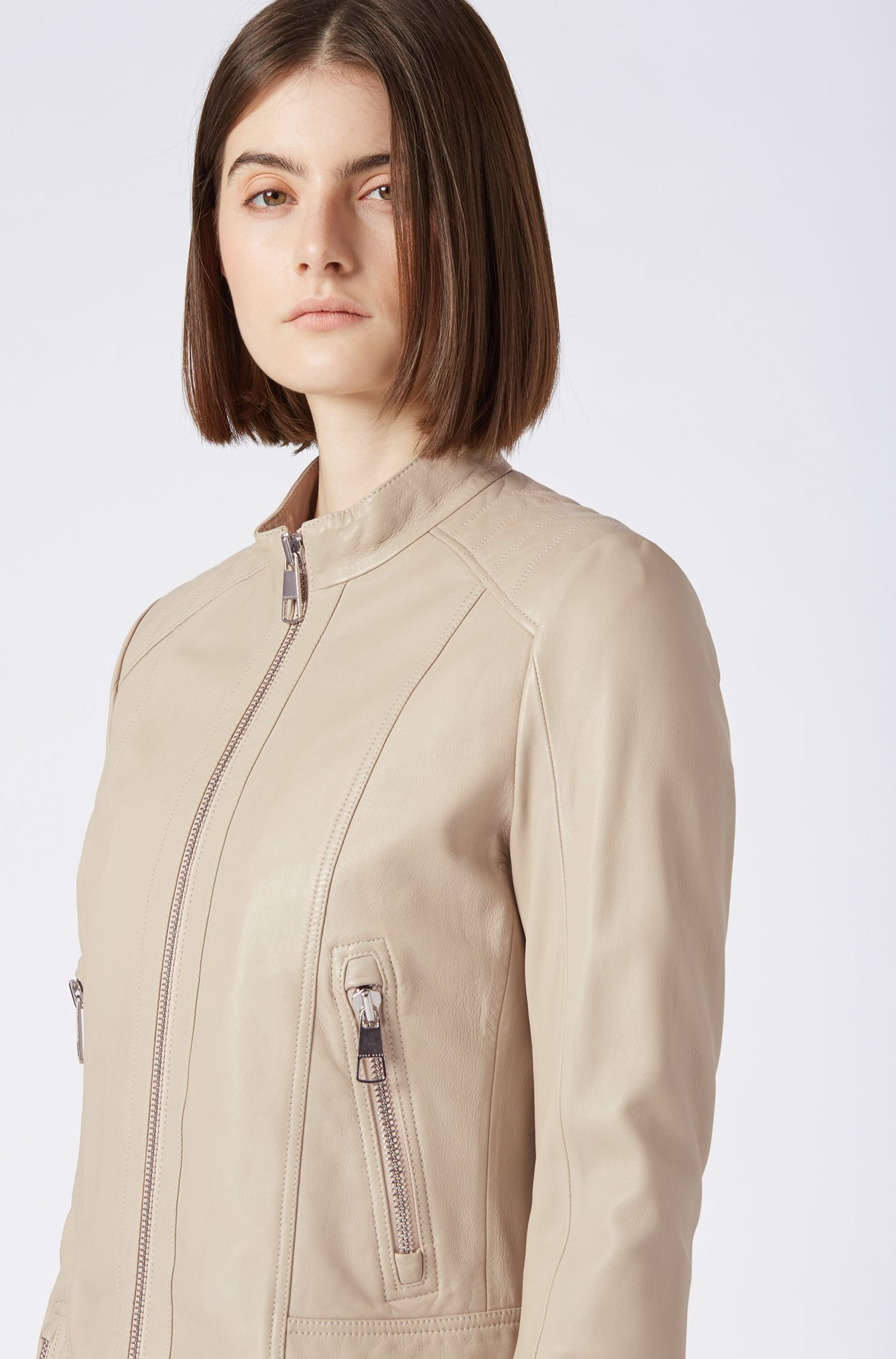 Regular-fit biker jacket in lambskin leather, Beige