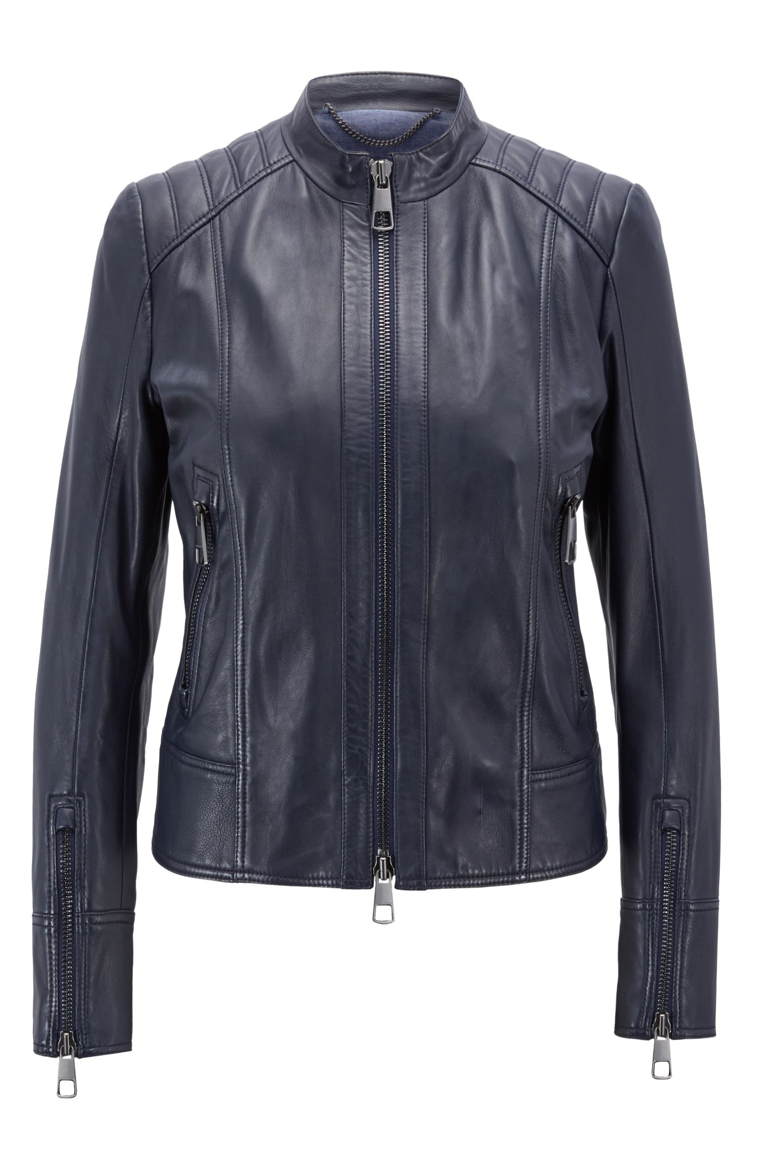 Regular-fit biker jacket in lambskin leather, Dark Blue