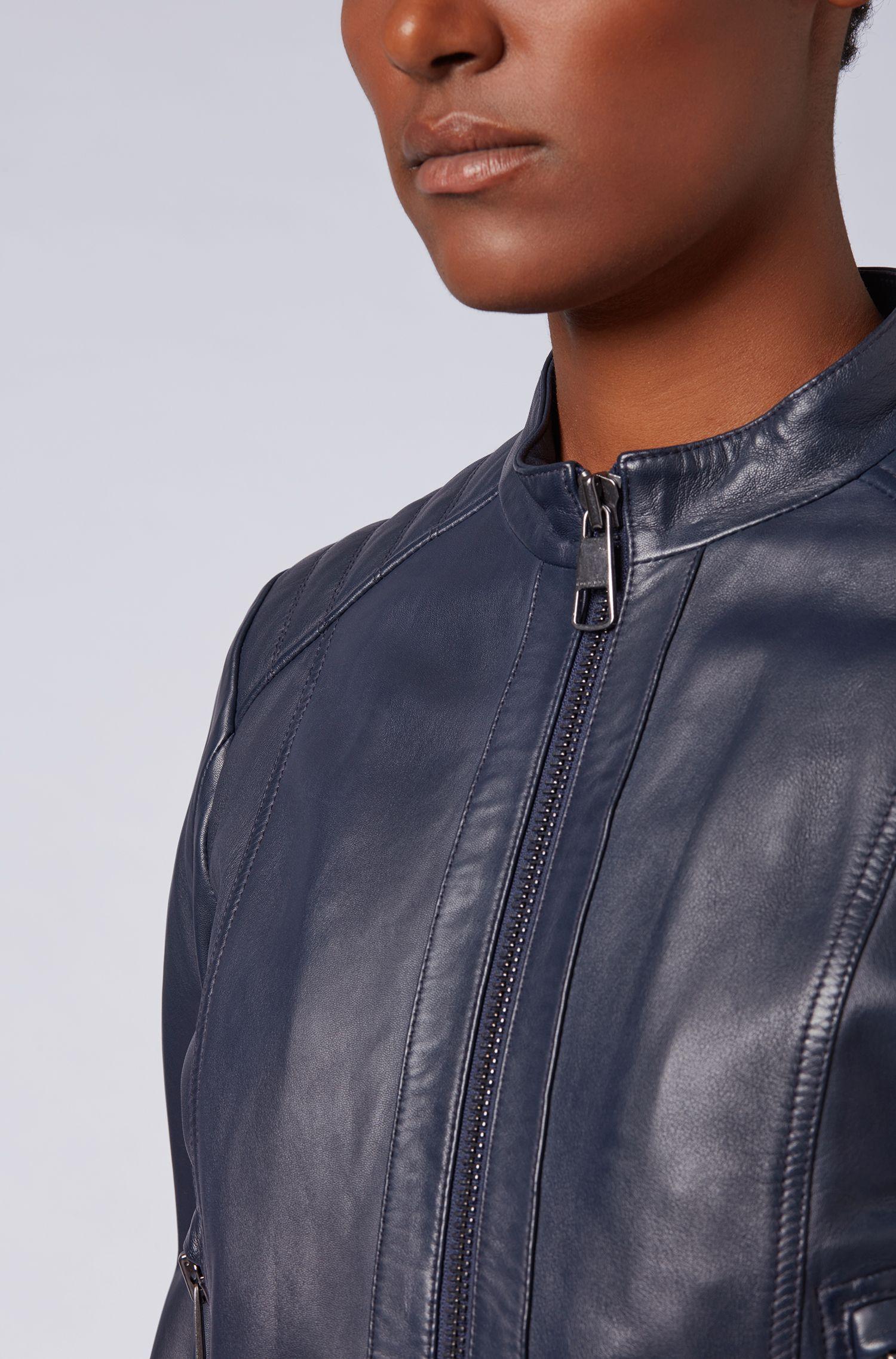 Regular-fit biker jacket in lambskin leather, Dark Blue