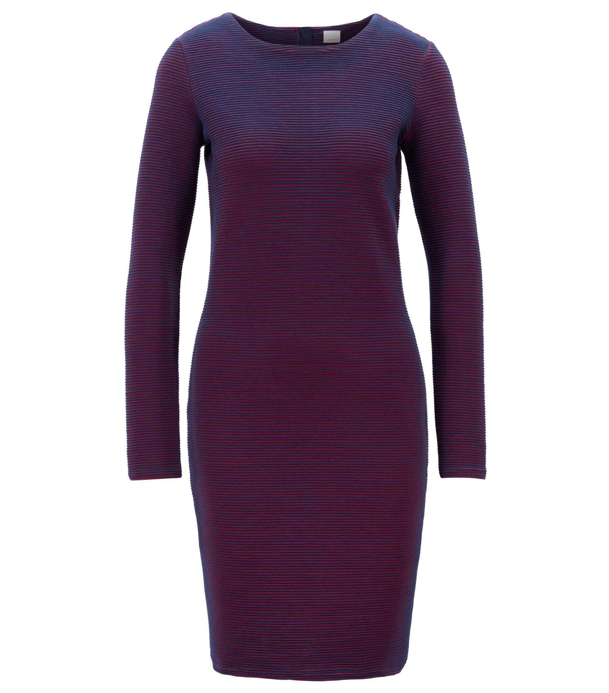 Long-sleeved bodycon dress in striped ottoman jersey, Patterned